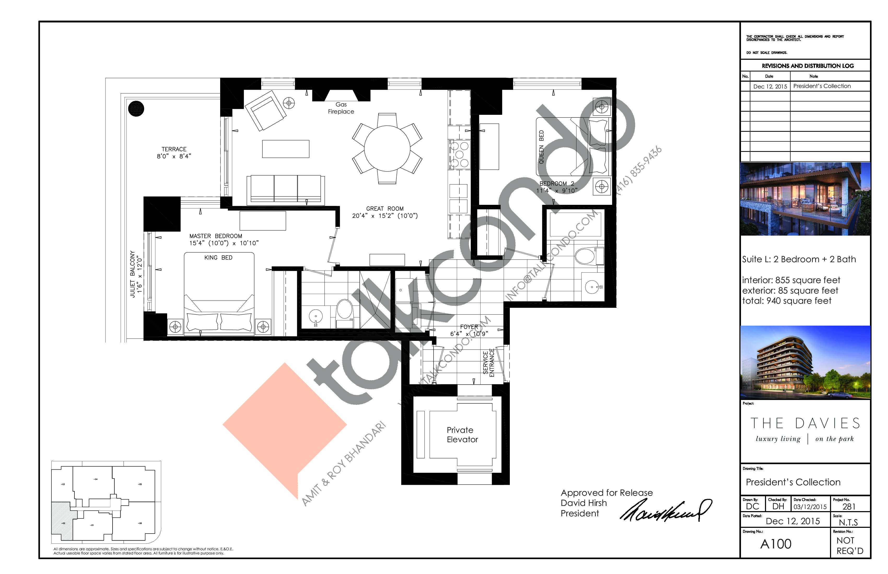 Suite L Floor Plan at The Davies - 855 sq.ft