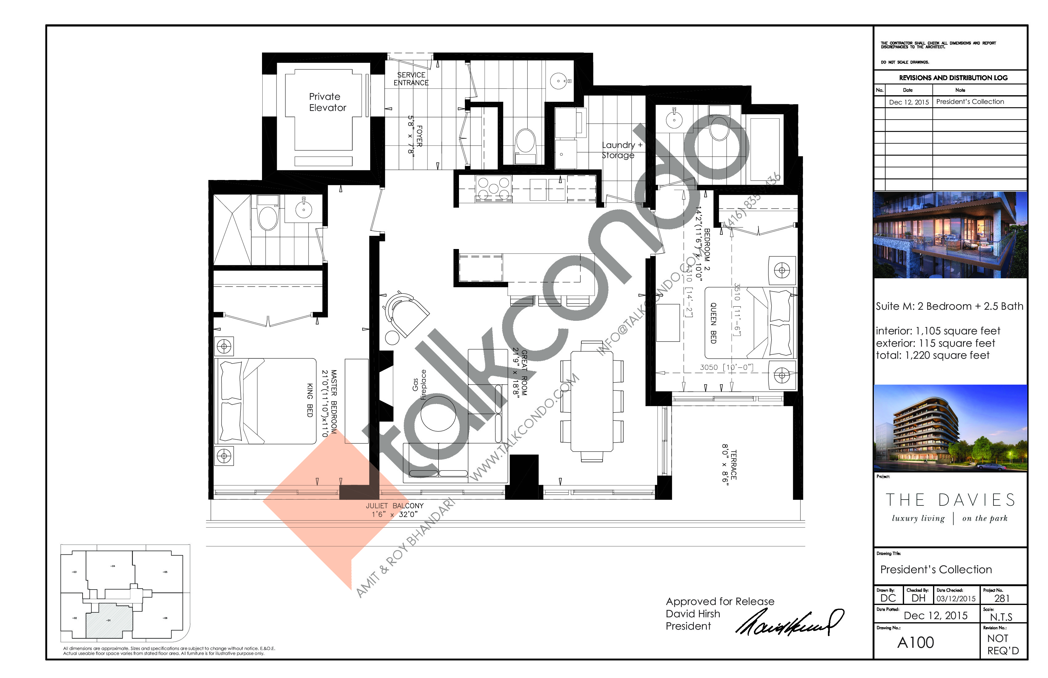 Suite M Floor Plan at The Davies - 1105 sq.ft