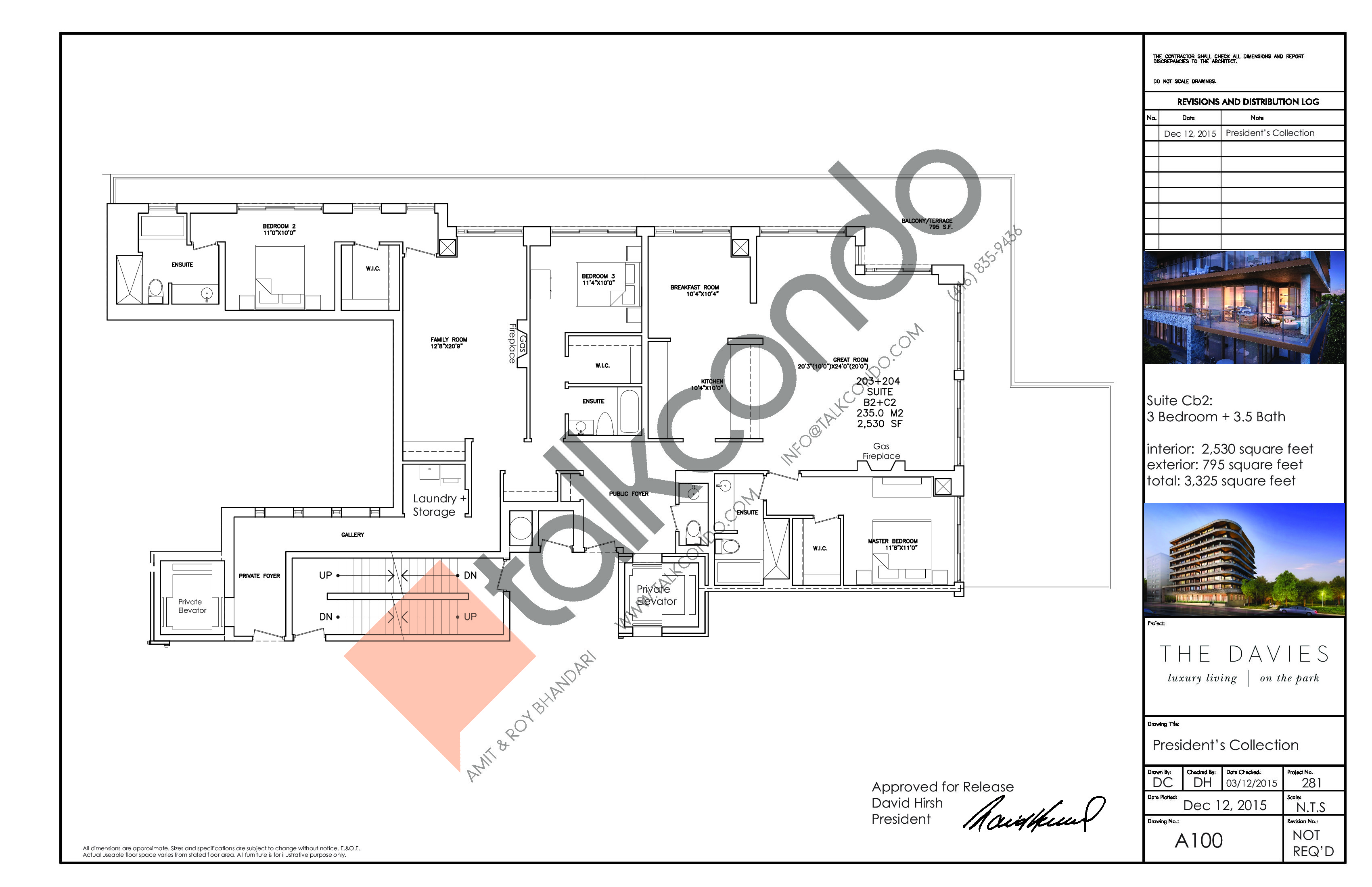 Suite Cb2 Floor Plan at The Davies - 2530 sq.ft