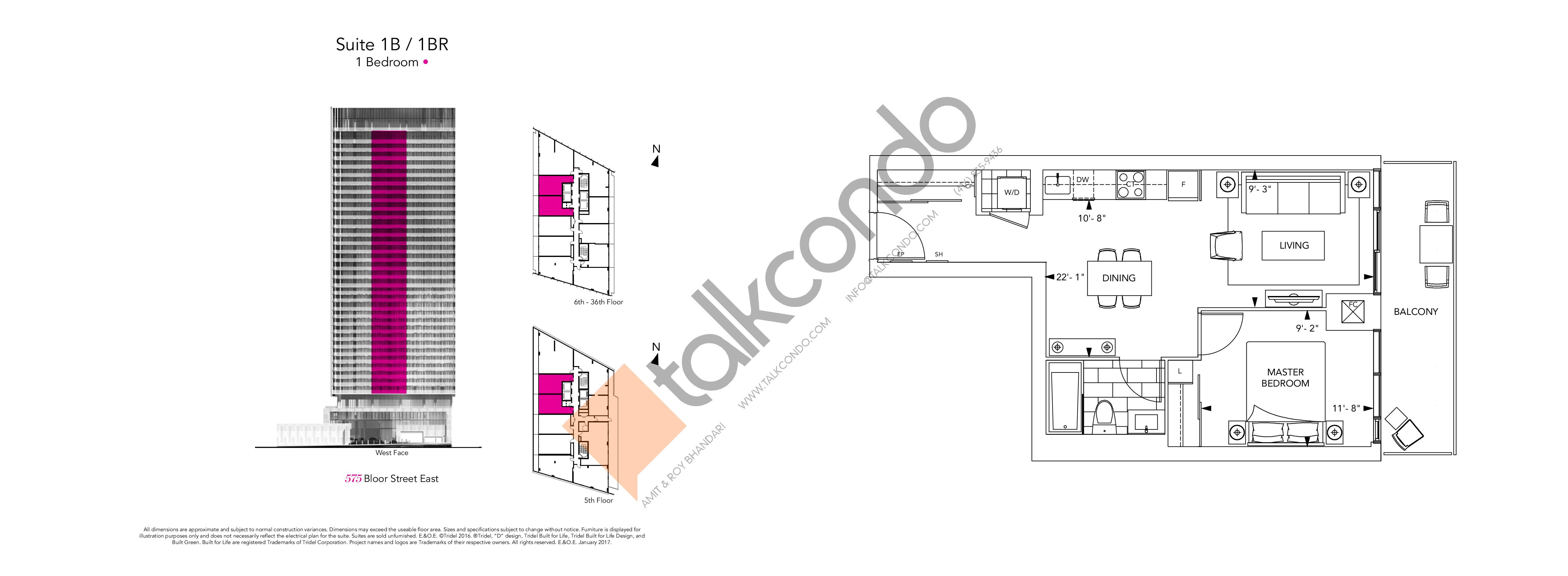 1B / BR Floor Plan at Via Bloor Condos - 556 sq.ft