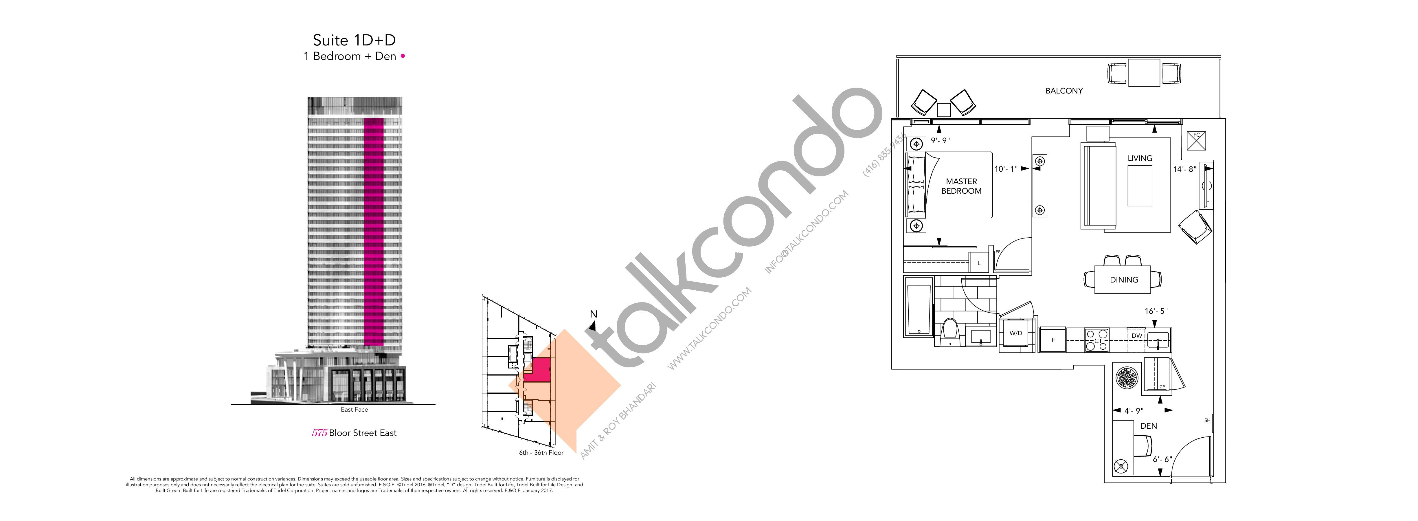 1D+D Floor Plan at Via Bloor Condos - 609 sq.ft
