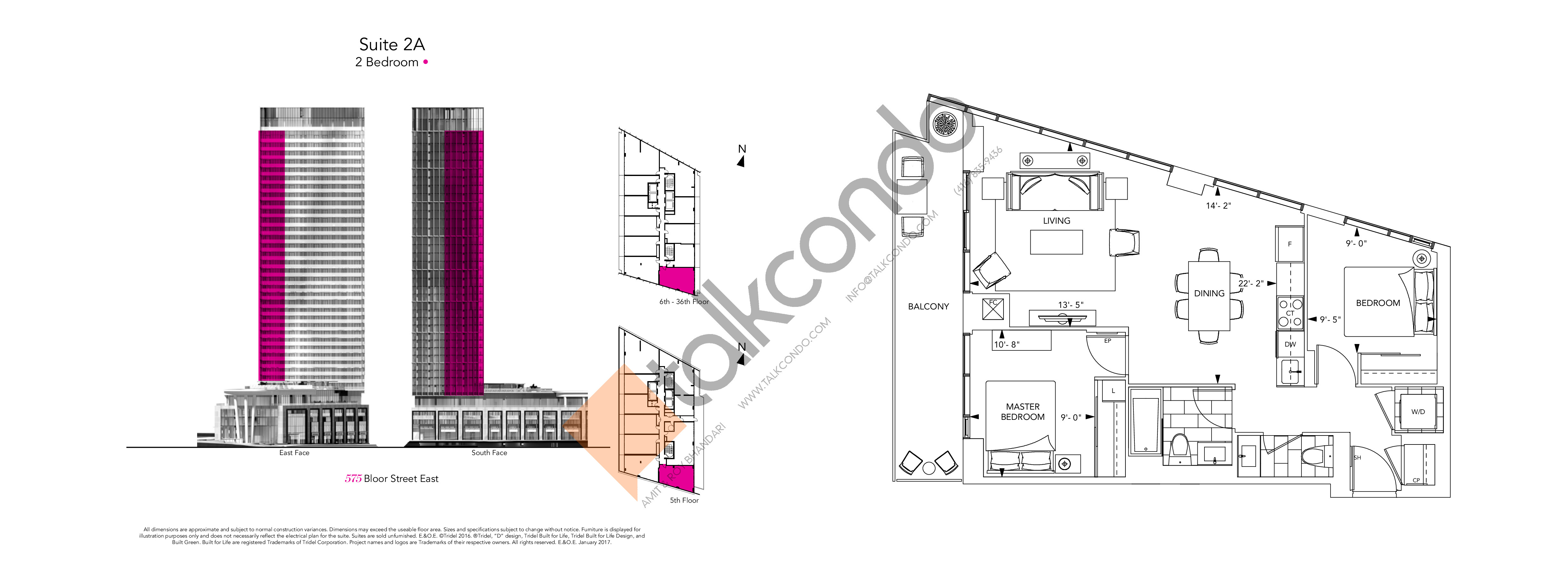 2A Floor Plan at Via Bloor Condos - 777 sq.ft