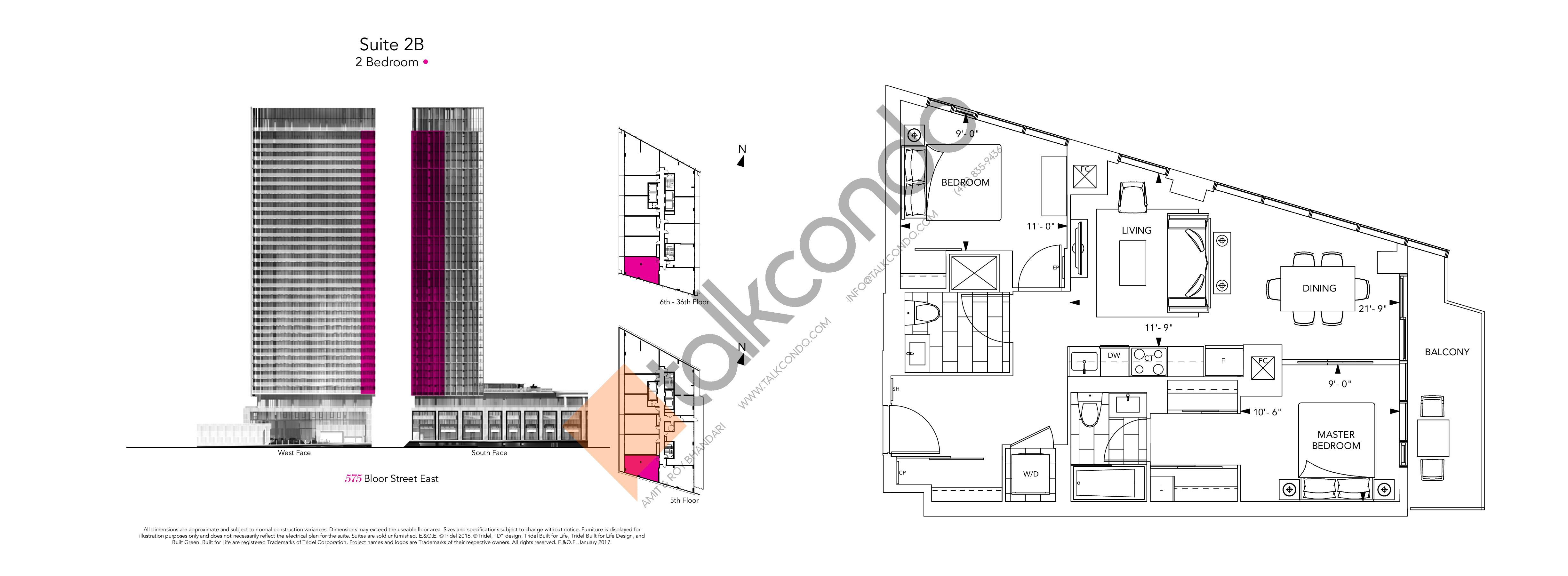 2B Floor Plan at Via Bloor Condos - 780 sq.ft