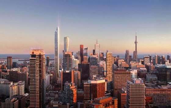 YSL Residences Aerial view over Toronto