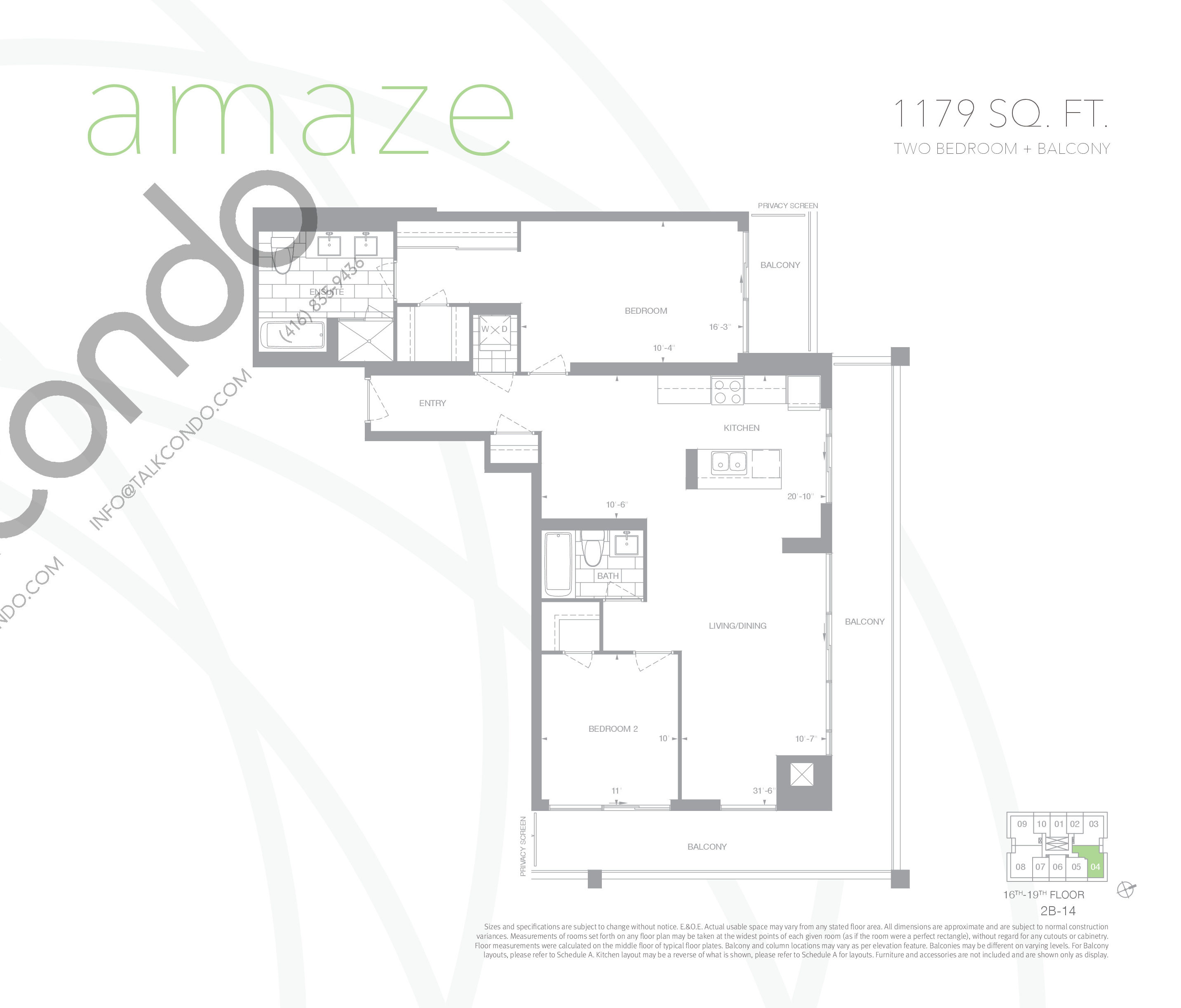 Amaze Floor Plan at Senses Condominiums - 1179 sq.ft