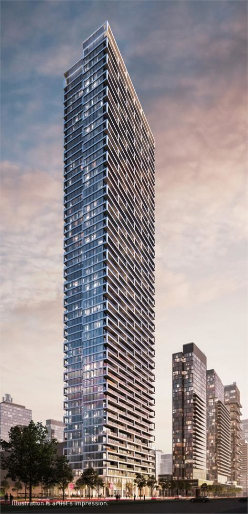 Exterior rendering for Transit City Condos