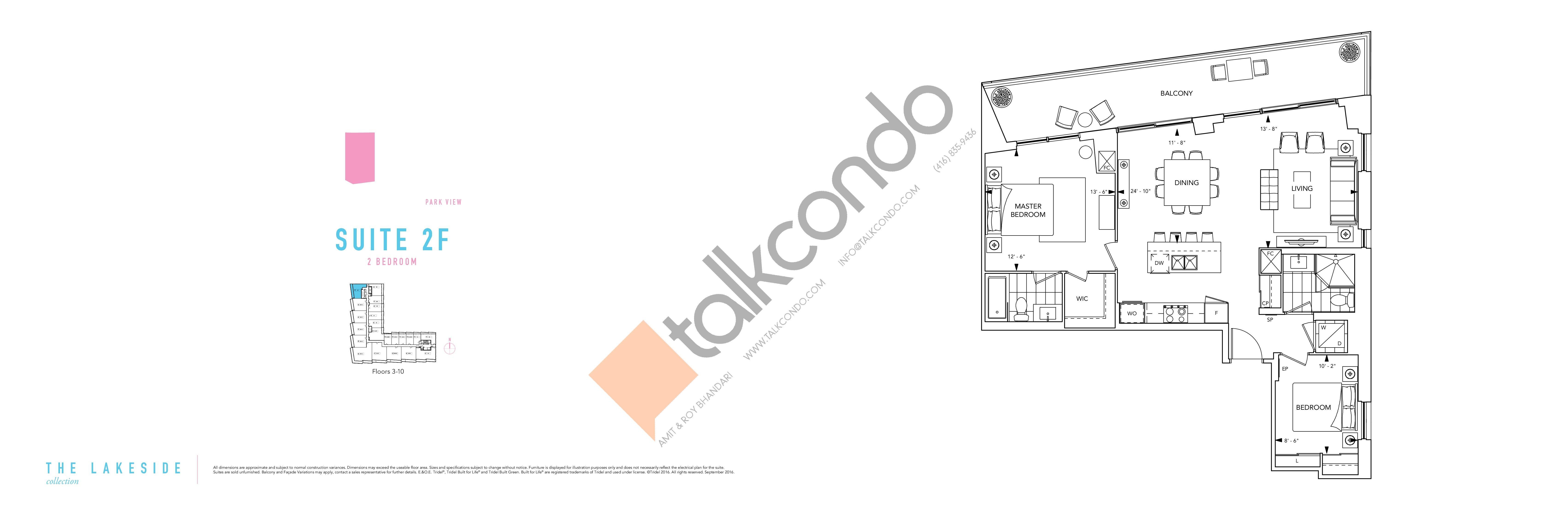 Suite 2F Floor Plan at Aquabella Condos - 1057 sq.ft