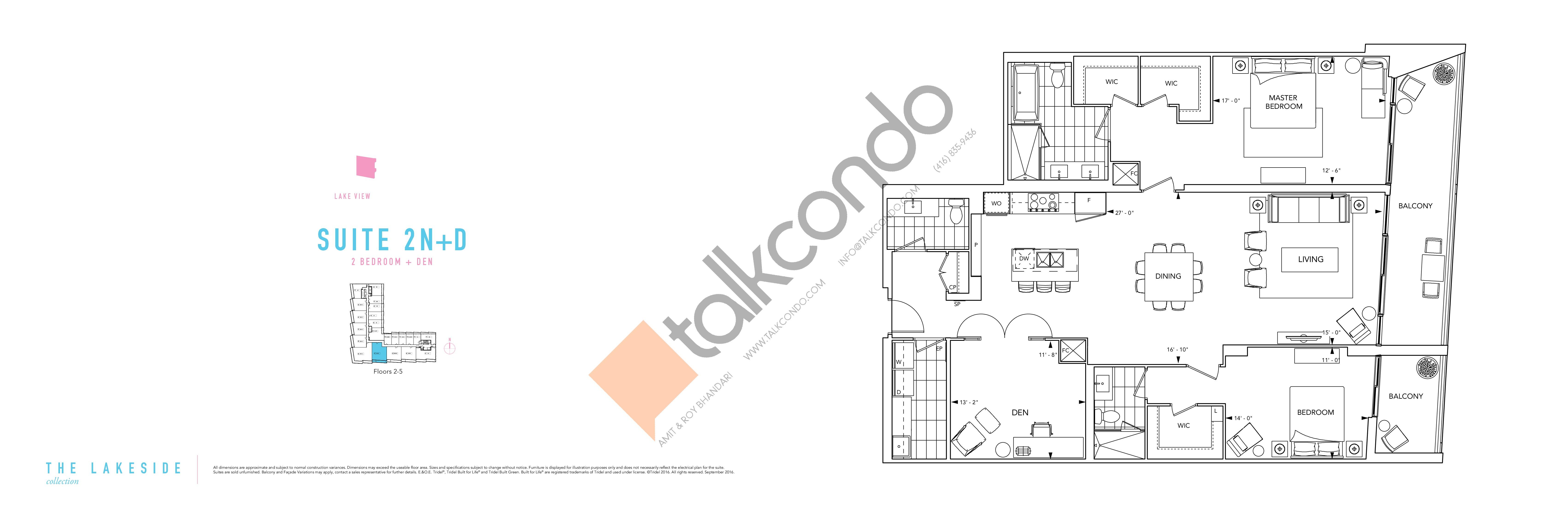 Suite 2N+D Floor Plan at Aquabella Condos - 1841 sq.ft