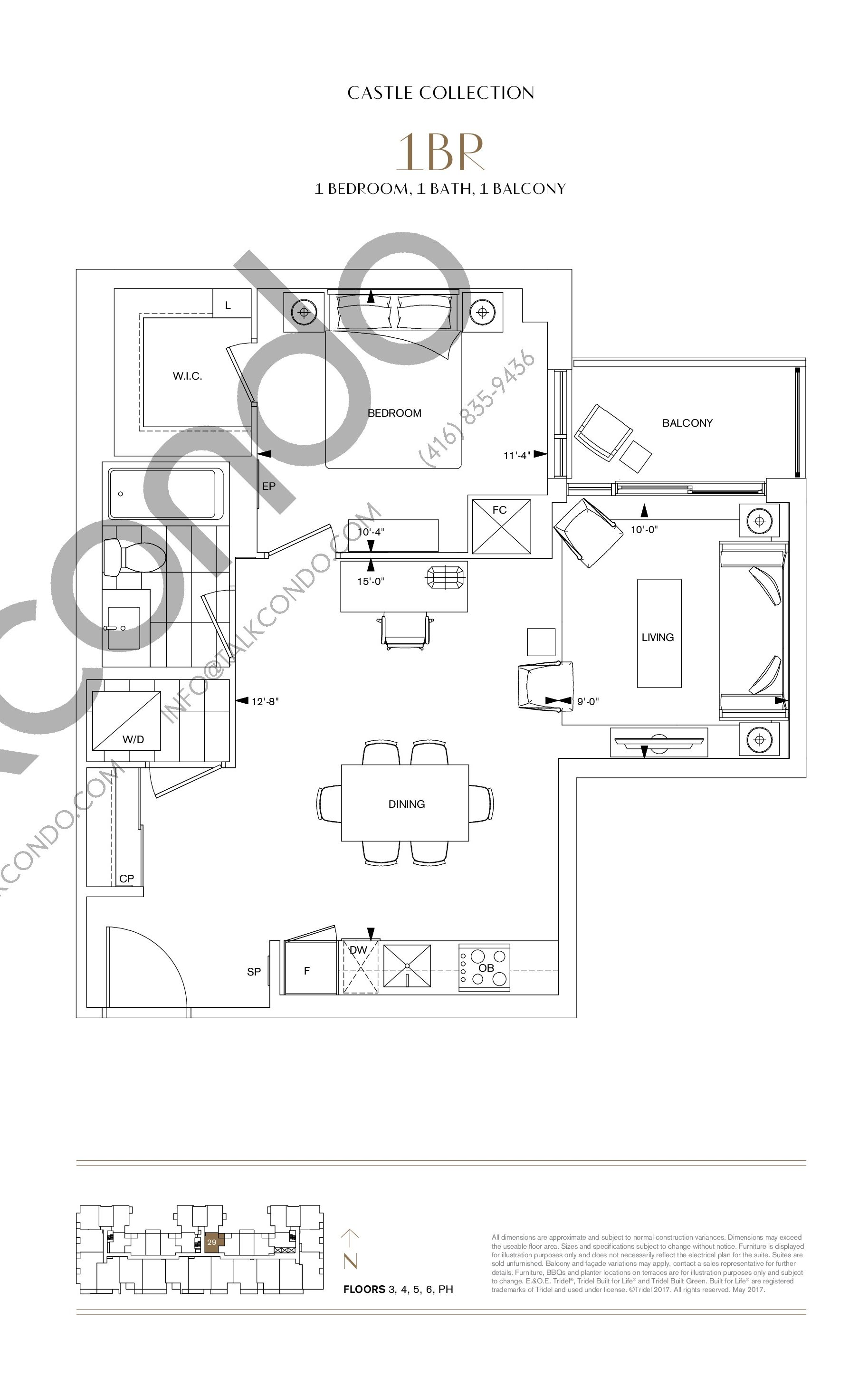 1BR Floor Plan at Bianca Condos - 660 sq.ft