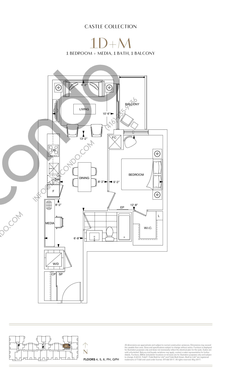 1D+M Floor Plan at Bianca Condos - 635 sq.ft