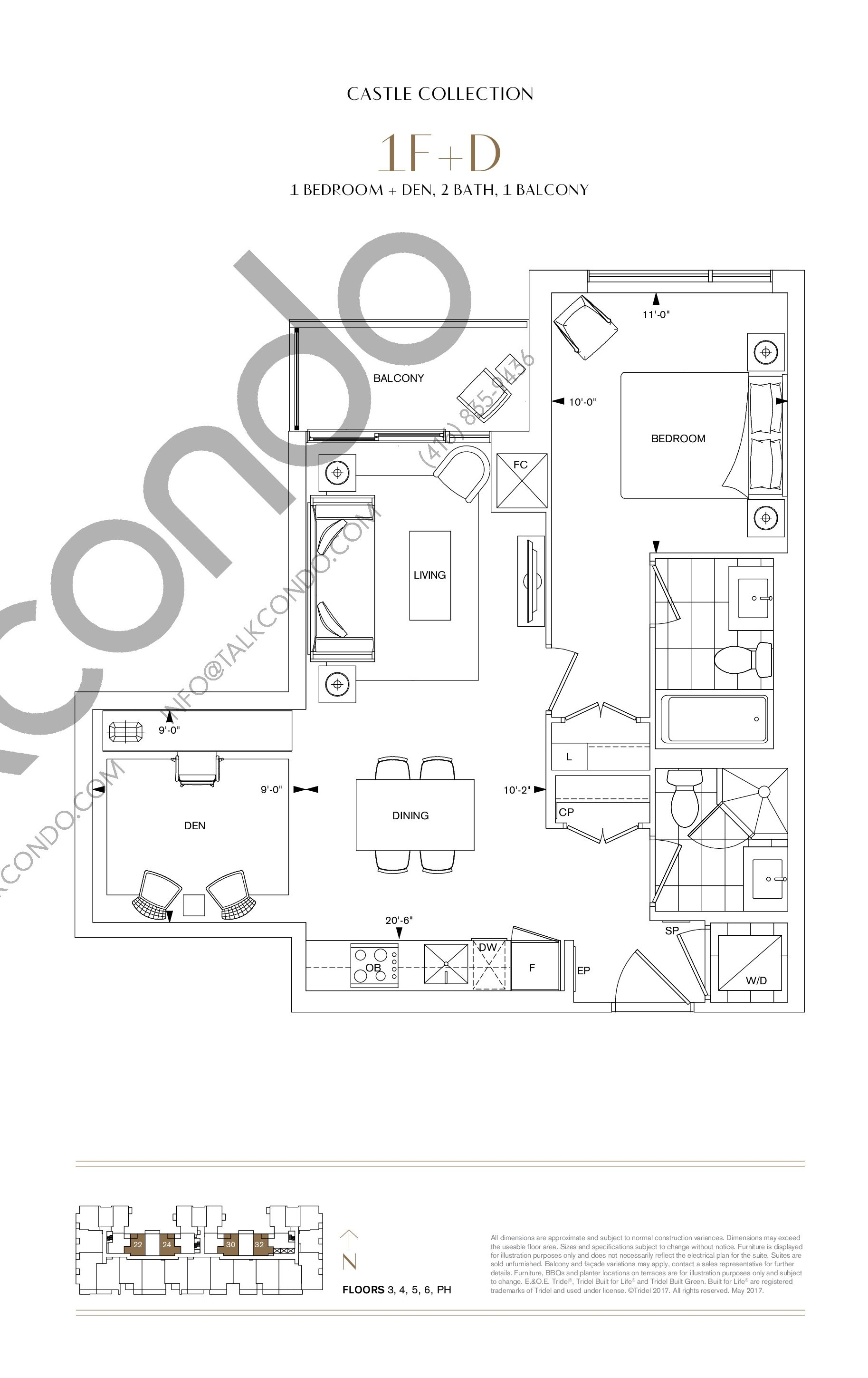 1F+D Floor Plan at Bianca Condos - 687 sq.ft