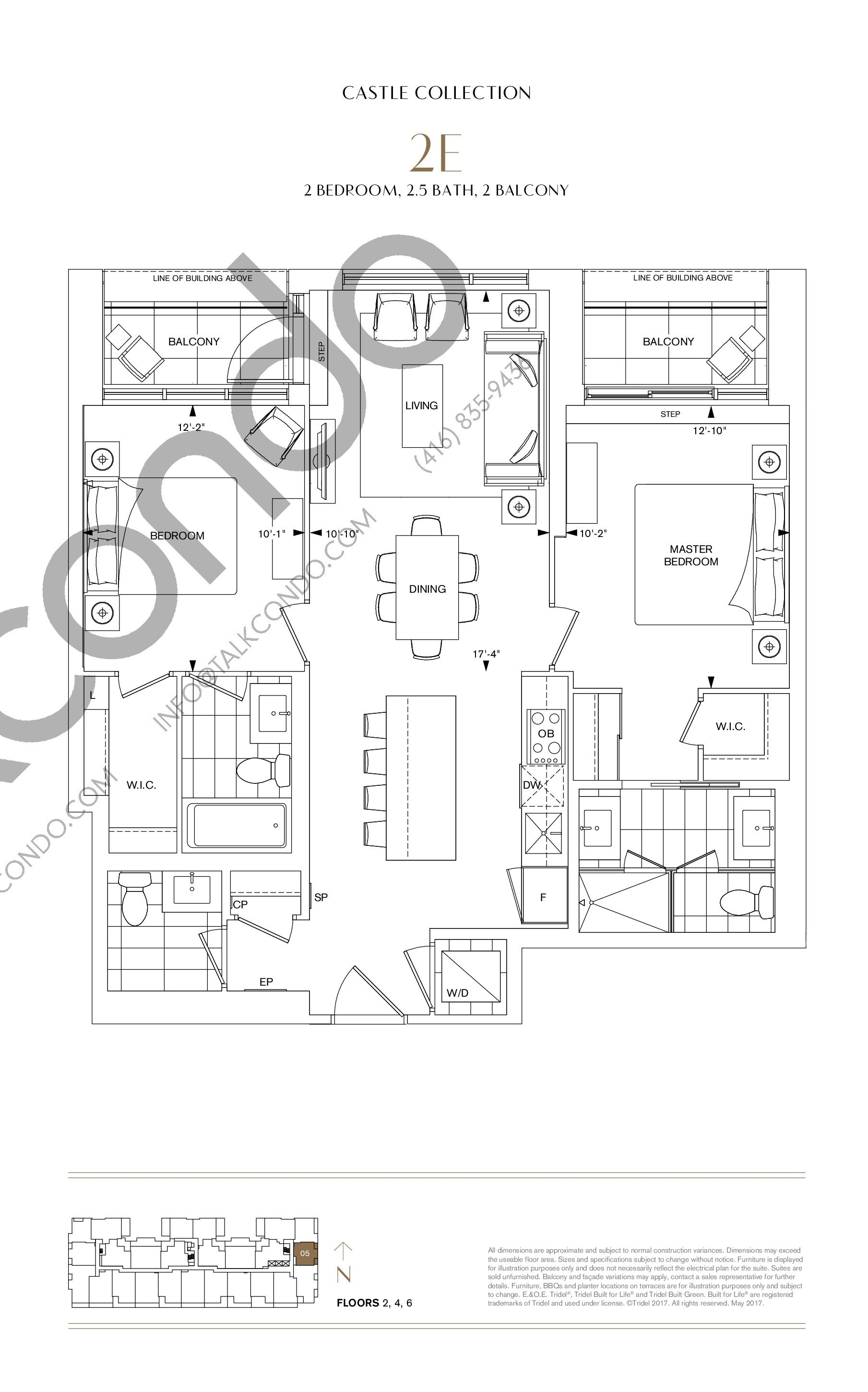 2E Floor Plan at Bianca Condos - 973 sq.ft