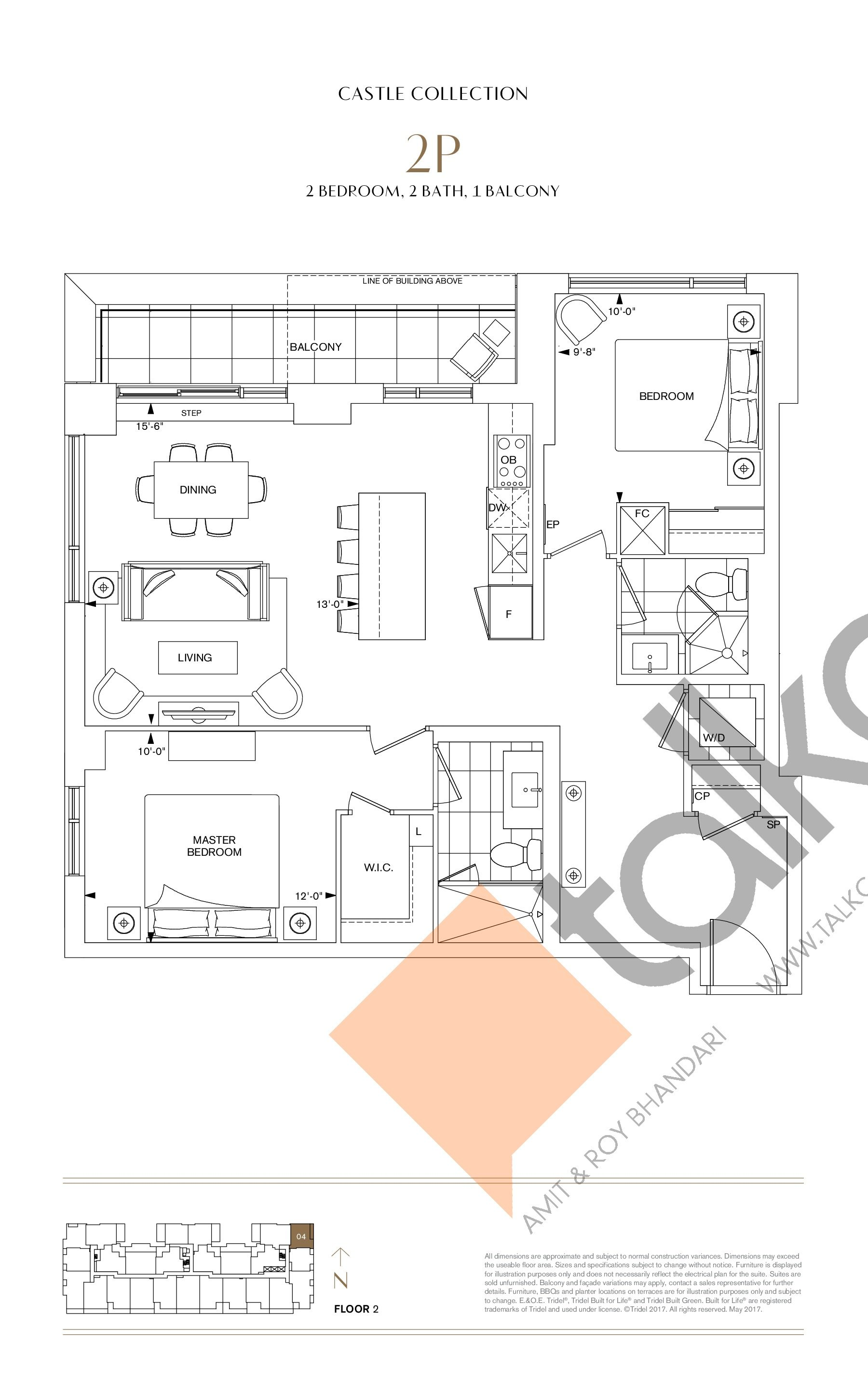 2P Floor Plan at Bianca Condos - 1006 sq.ft