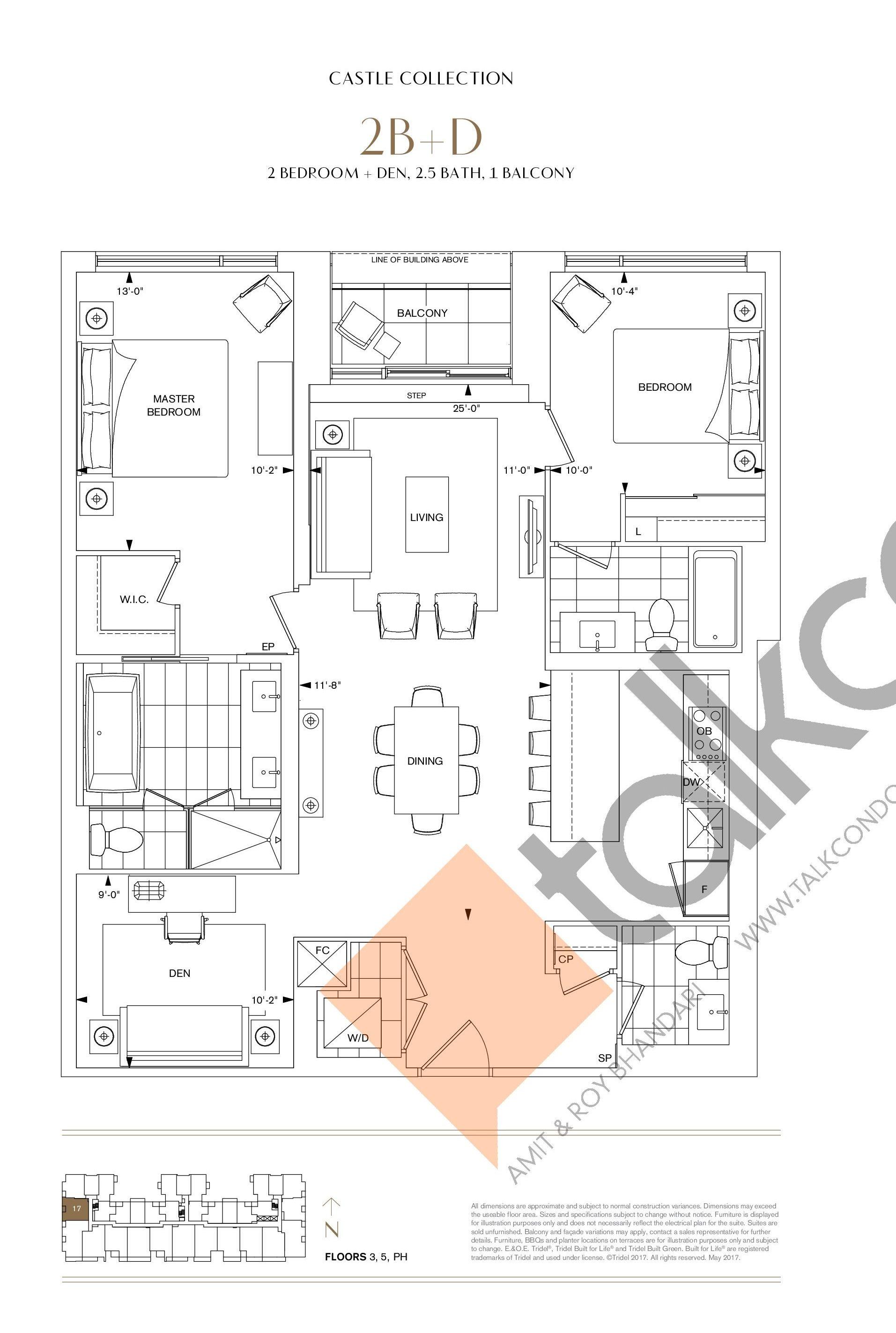 2B+D Floor Plan at Bianca Condos - 1208 sq.ft