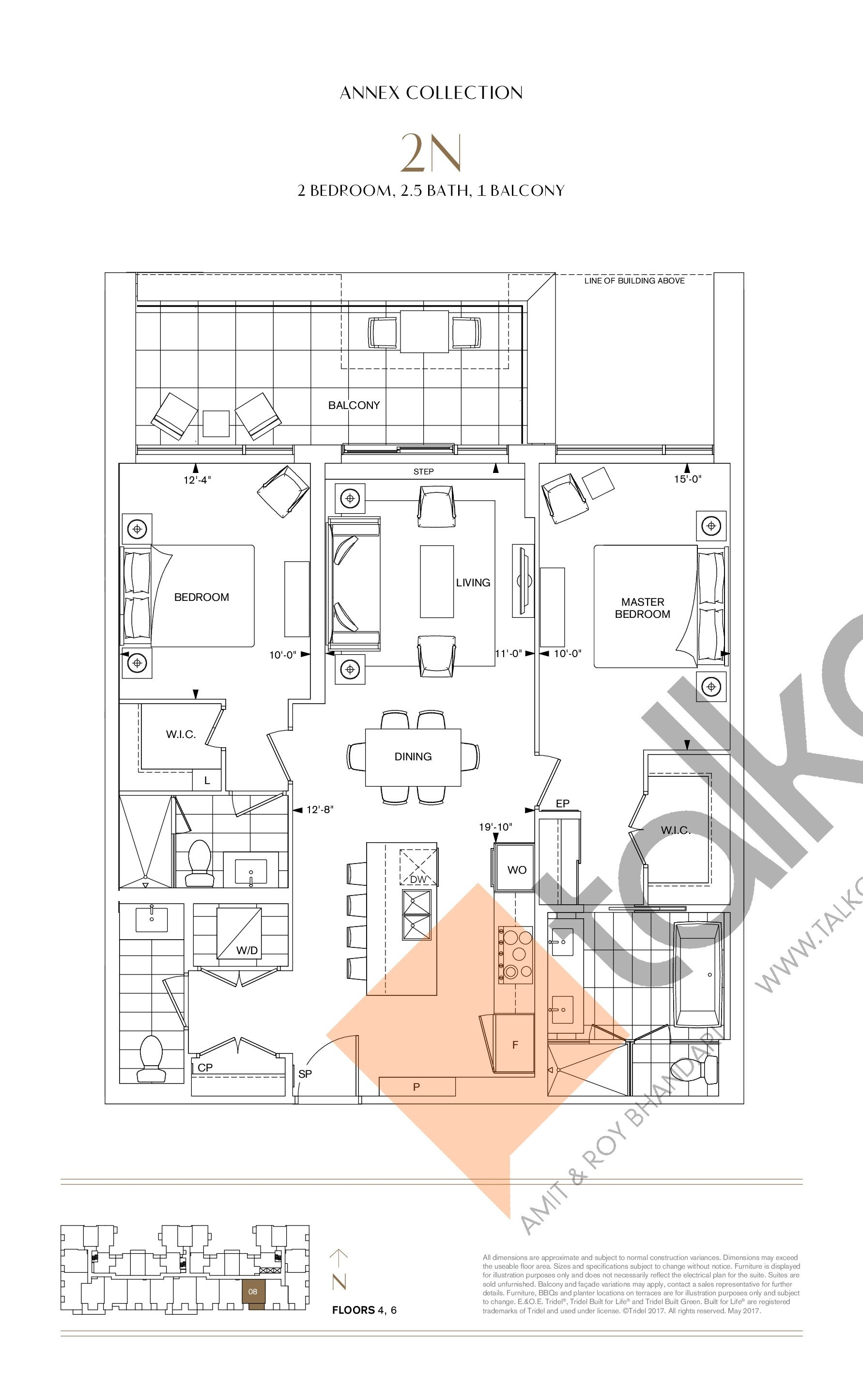 2N Floor Plan at Bianca Condos - 1129 sq.ft