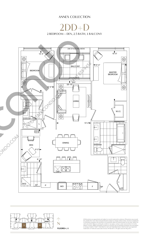 2DD+D Floor Plan at Bianca Condos - 1358 sq.ft