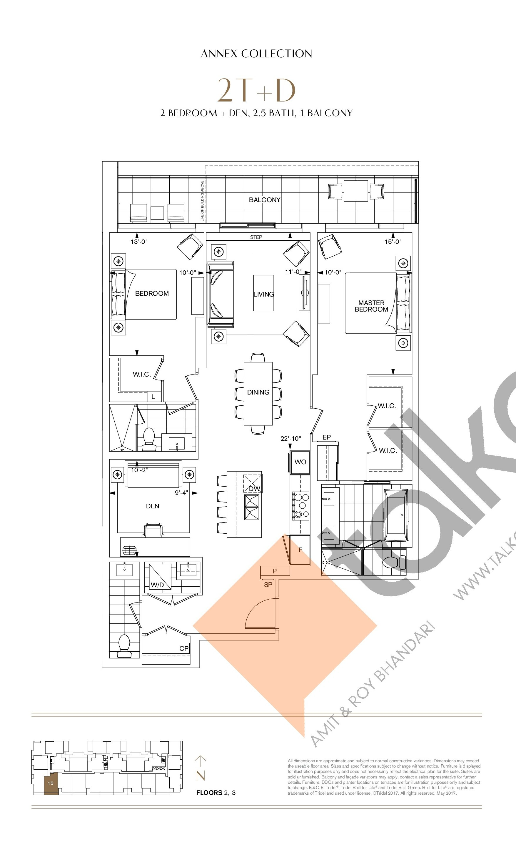 2T+D Floor Plan at Bianca Condos - 1390 sq.ft