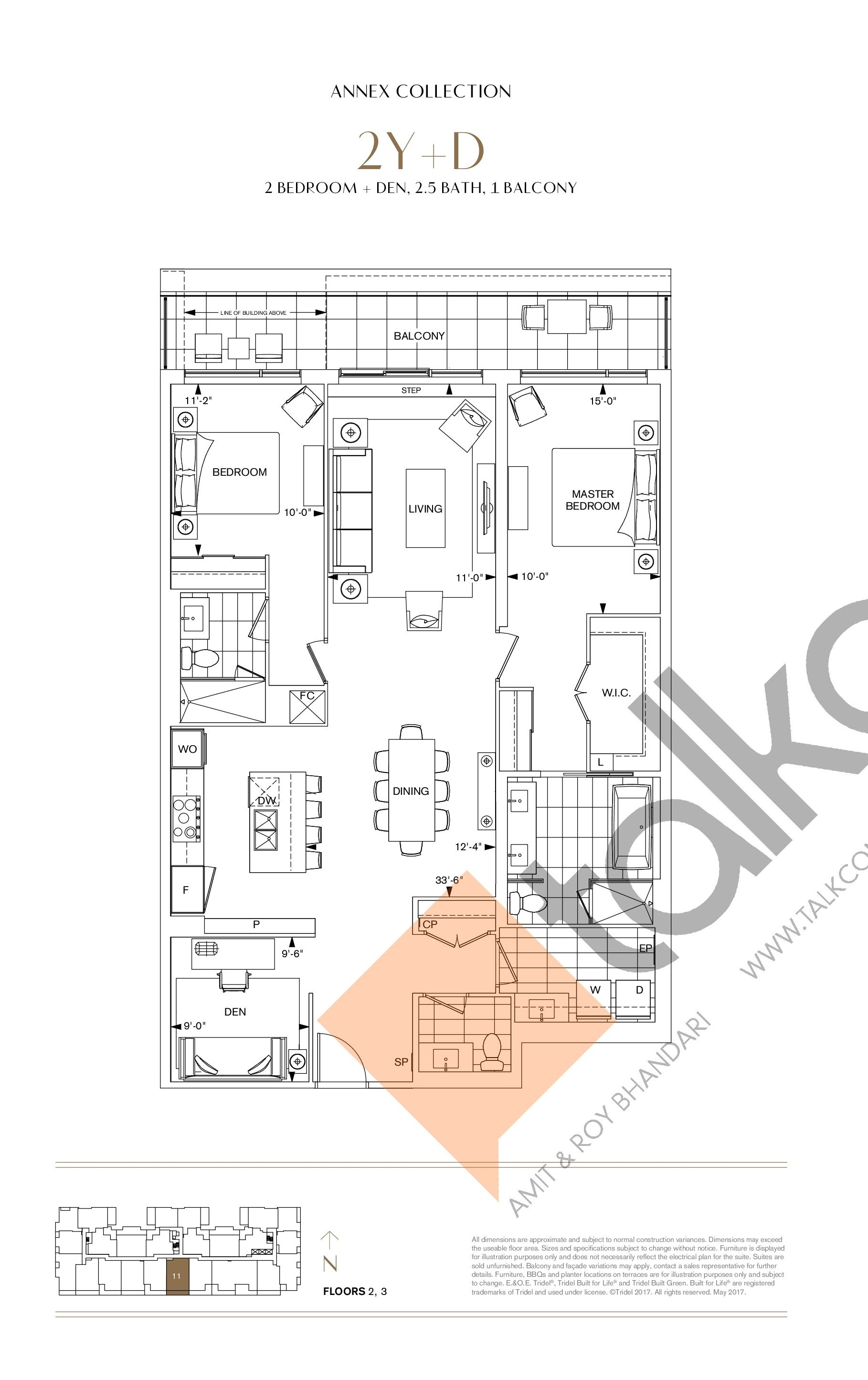 2Y+D Floor Plan at Bianca Condos - 1510 sq.ft