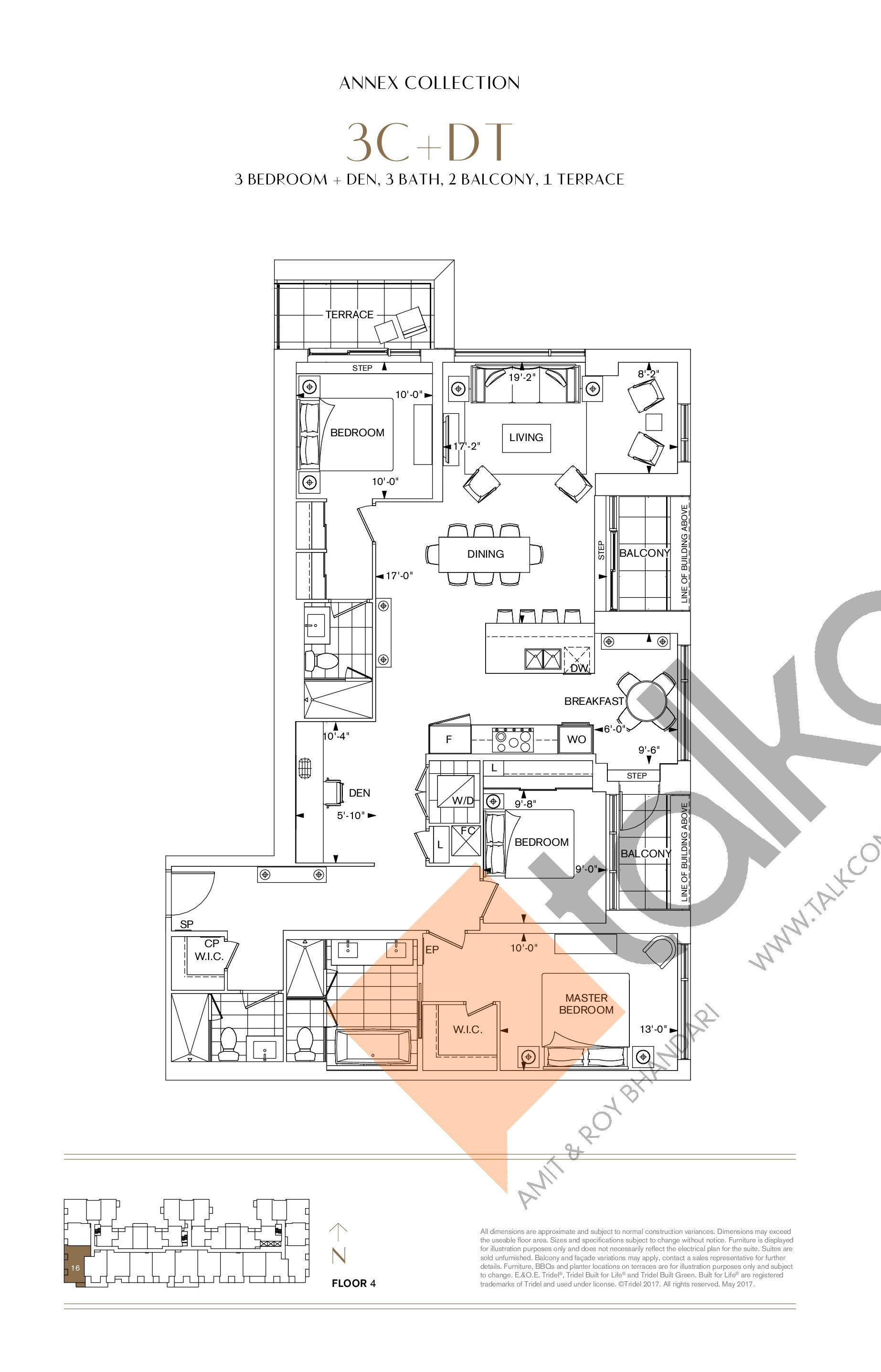 3C+DT Floor Plan at Bianca Condos - 1634 sq.ft