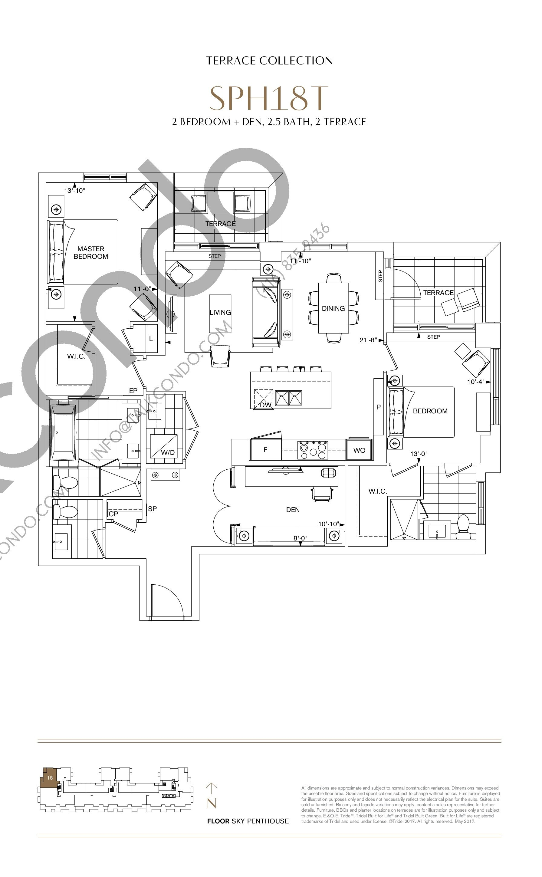 SPH18T Floor Plan at Bianca Condos - 1447 sq.ft