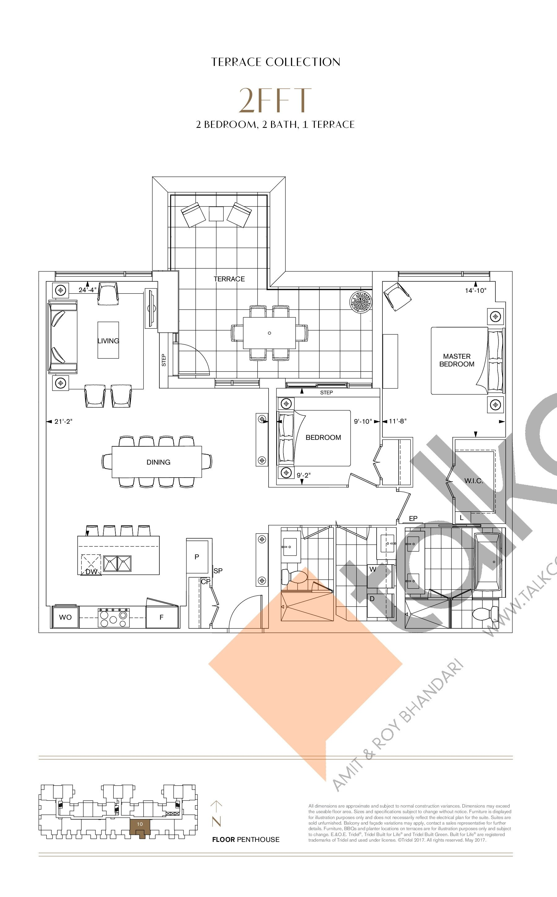 2FFT Floor Plan at Bianca Condos - 1368 sq.ft