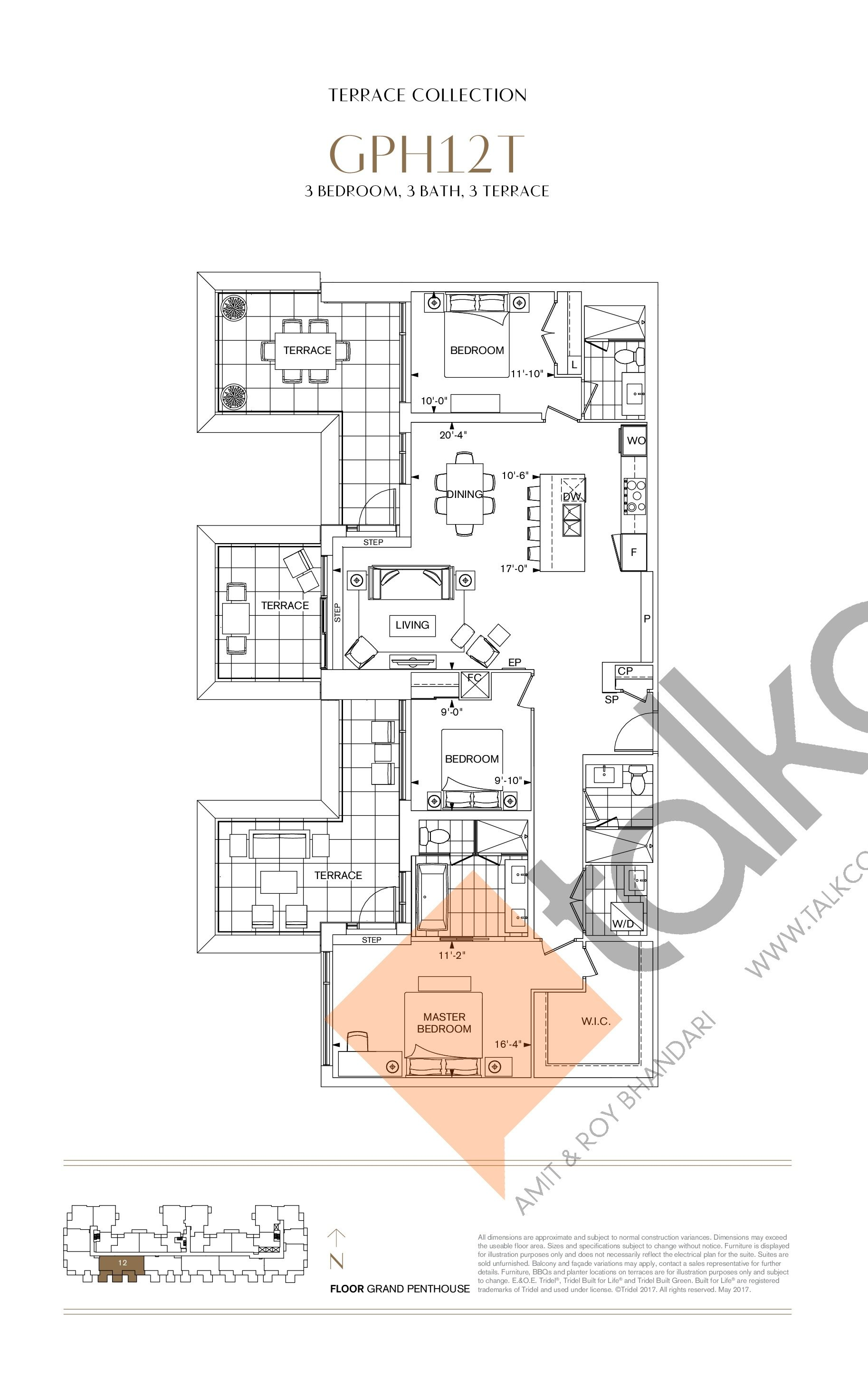 GPH12T Floor Plan at Bianca Condos - 1575 sq.ft