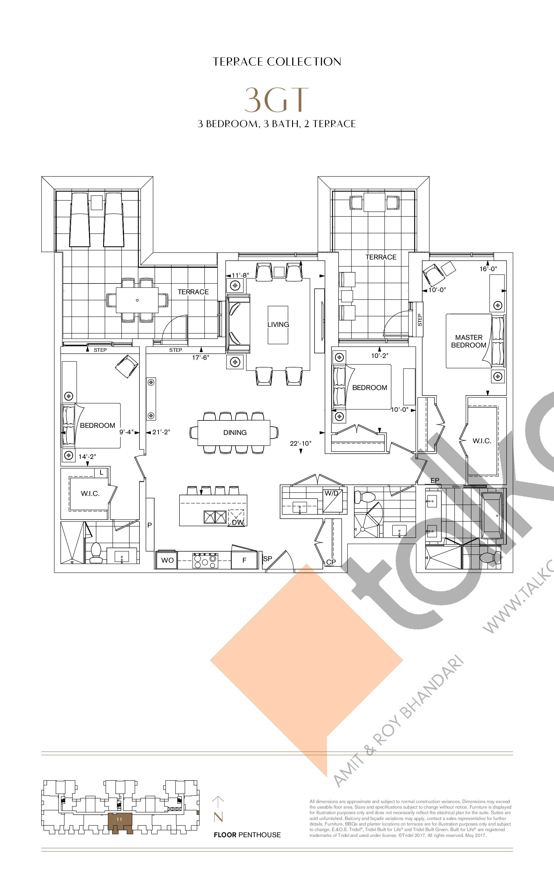 3GT Floor Plan at Bianca Condos - 1738 sq.ft