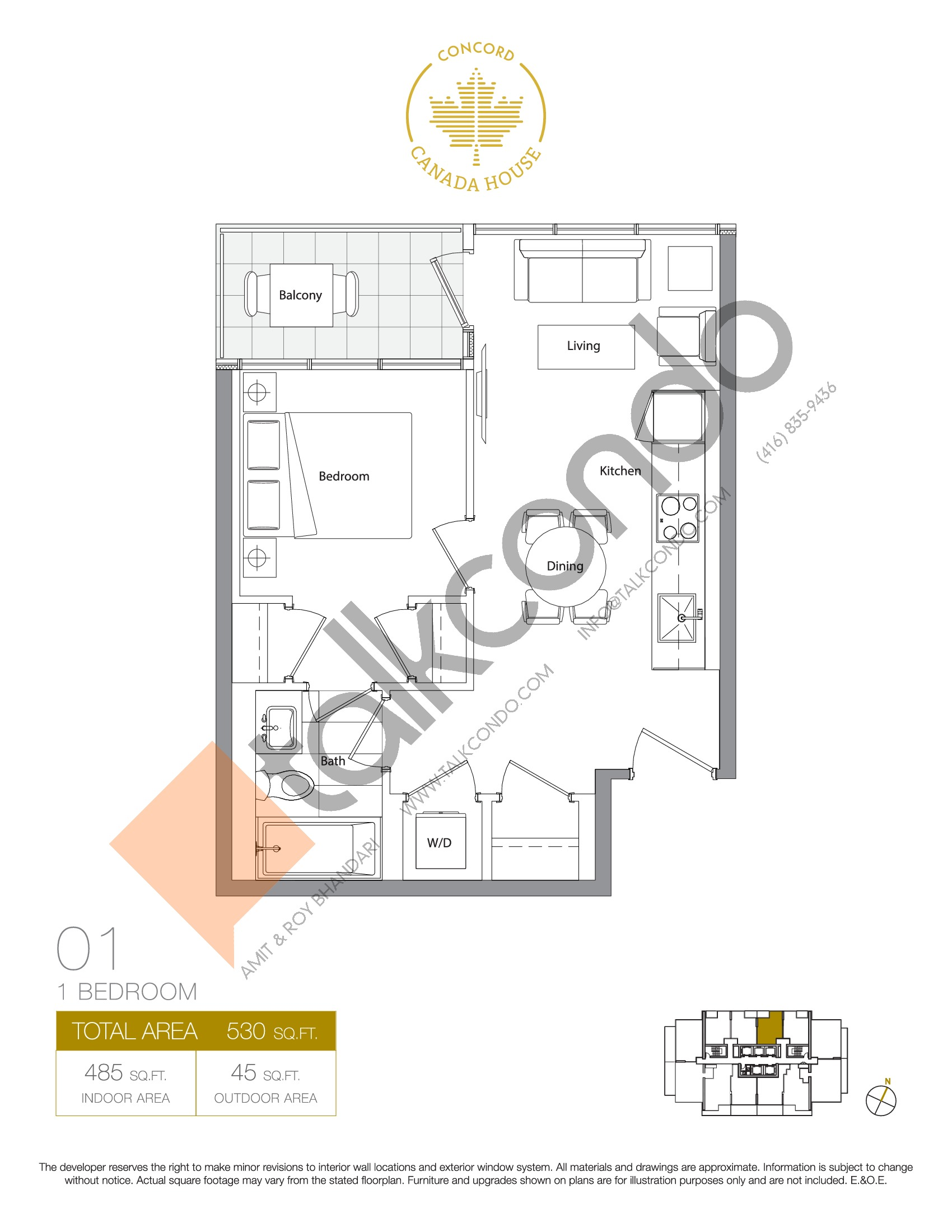 01 - East Tower Floor Plan at Concord Canada House Condos - 485 sq.ft