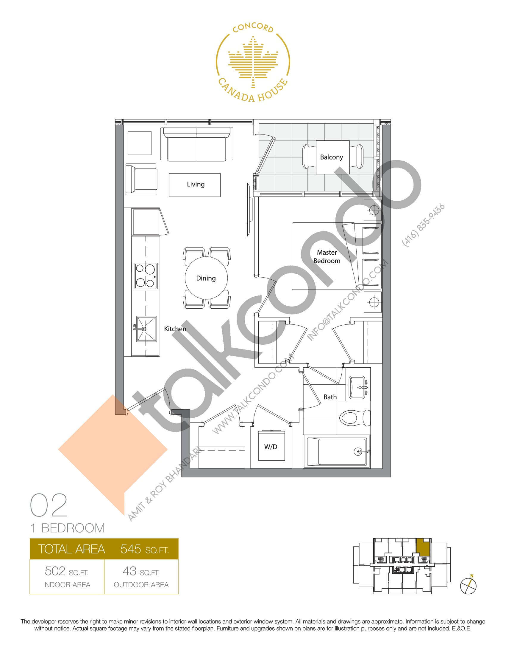 02 - East Tower Floor Plan at Concord Canada House Condos - 502 sq.ft