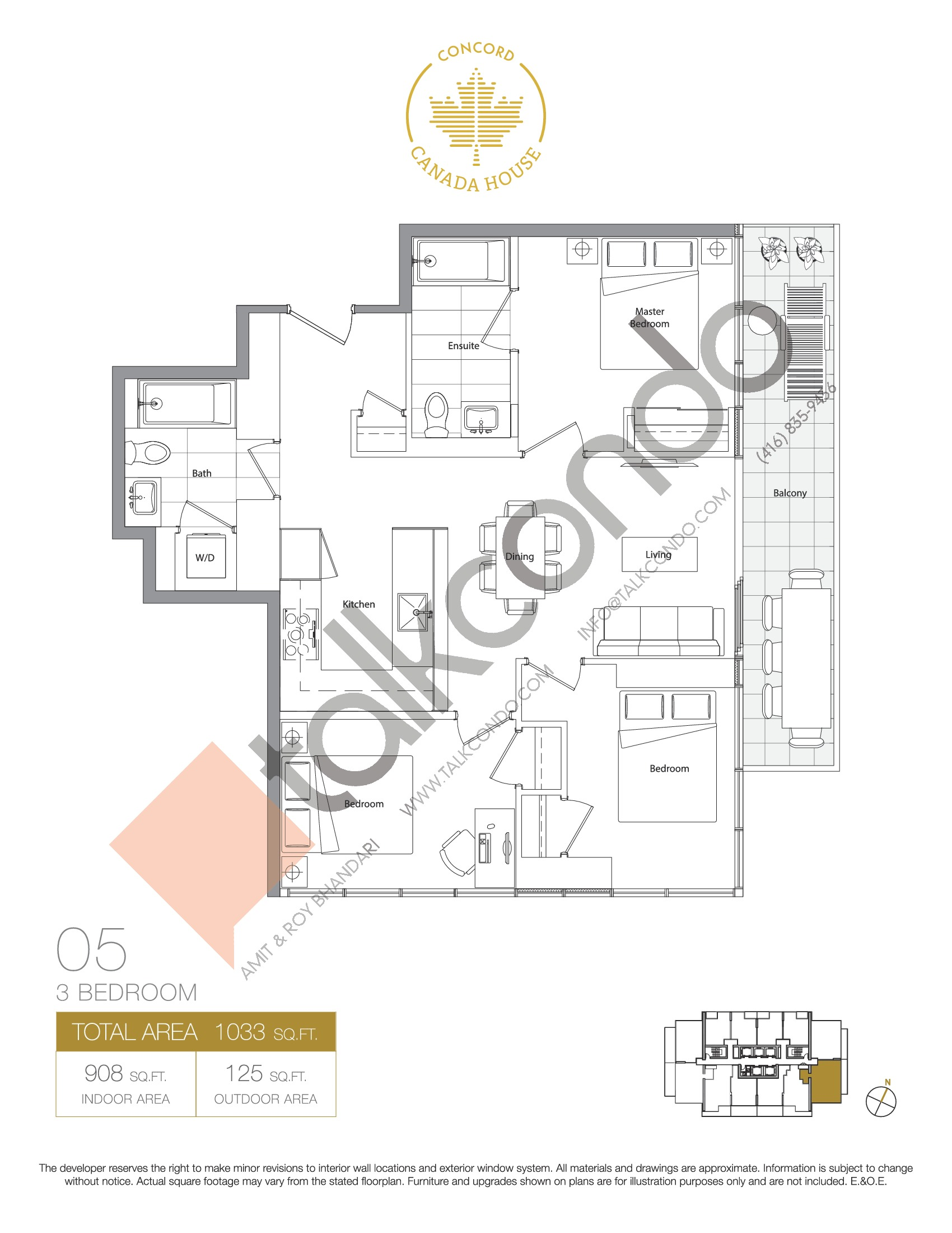 05 - East Tower Floor Plan at Concord Canada House Condos - 908 sq.ft