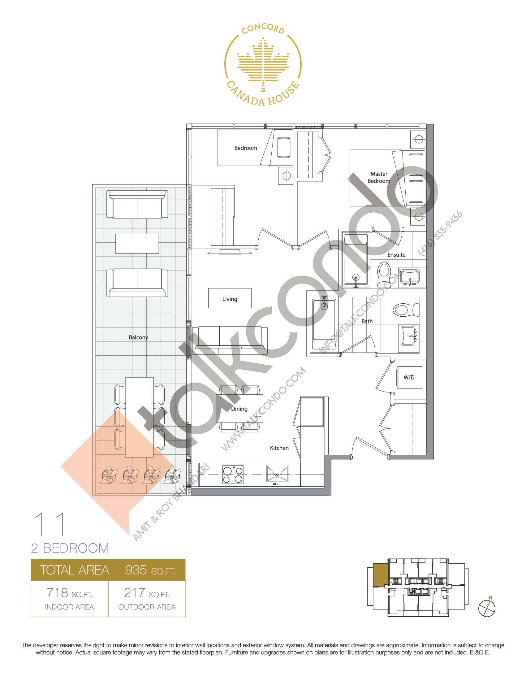 11 - East Tower Floor Plan at Concord Canada House Condos - 718 sq.ft