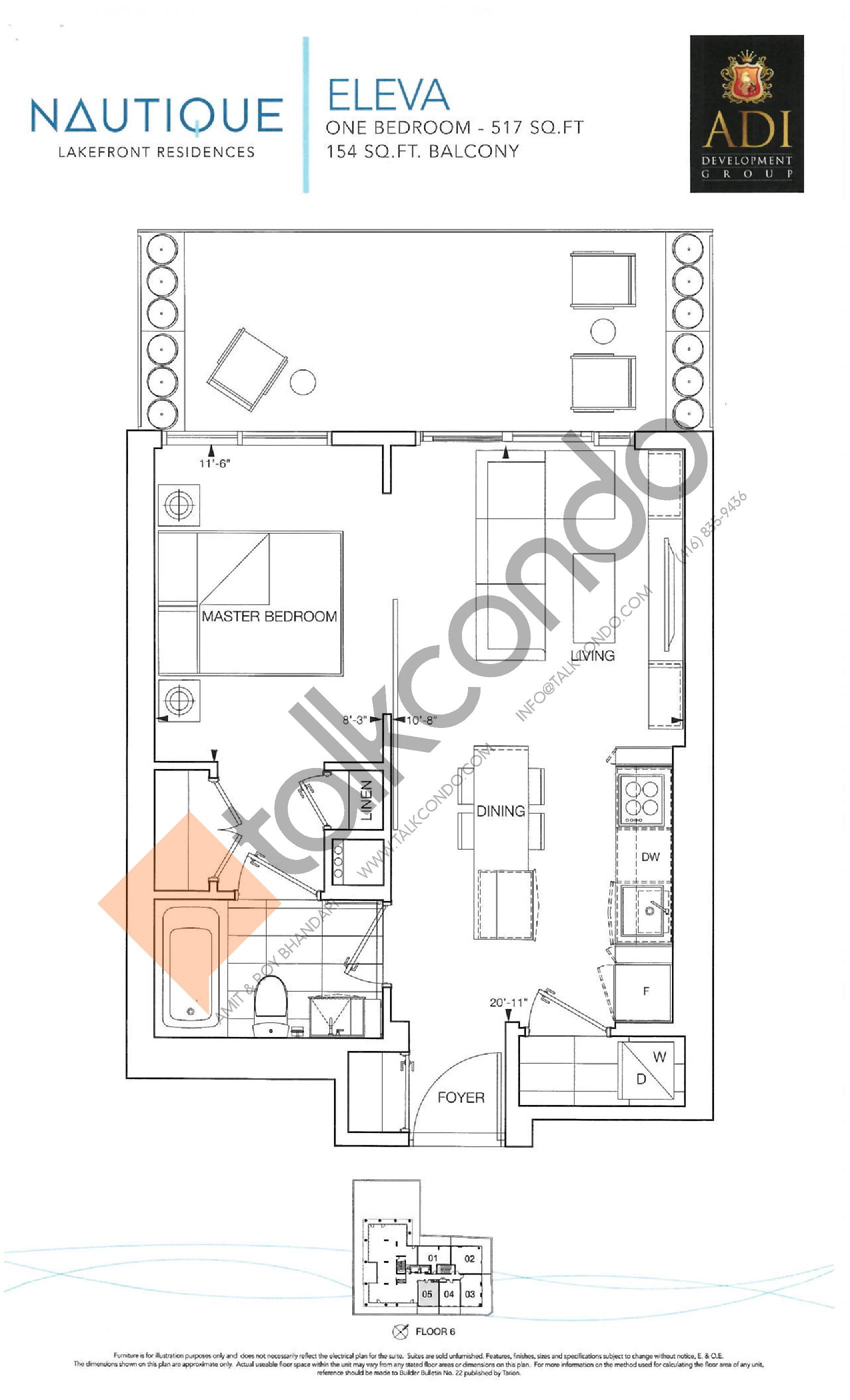 Eleva Floor Plan at Nautique Lakefront Residences - 517 sq.ft