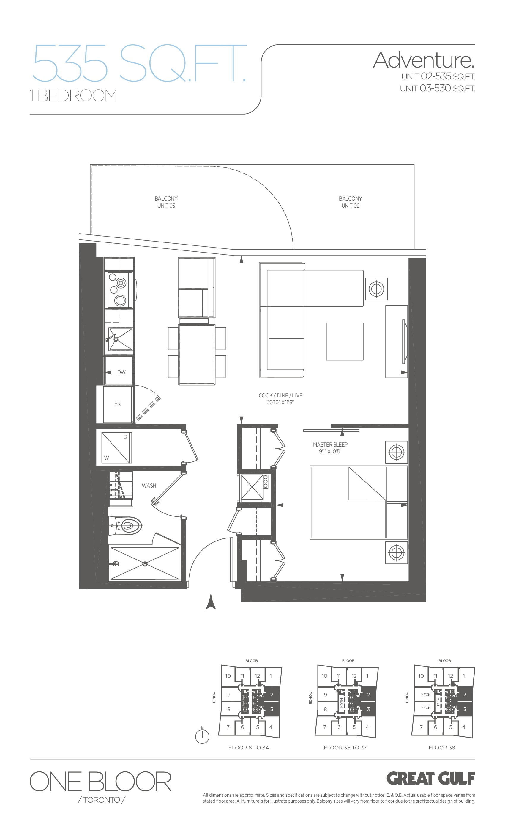 Adventure Floor Plan at One Bloor Condos - 535 sq.ft