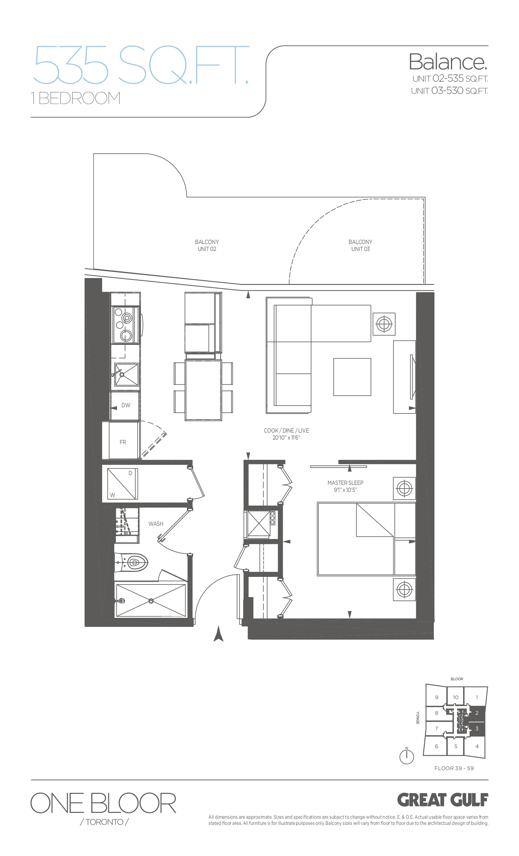 Balance Floor Plan at One Bloor Condos - 535 sq.ft