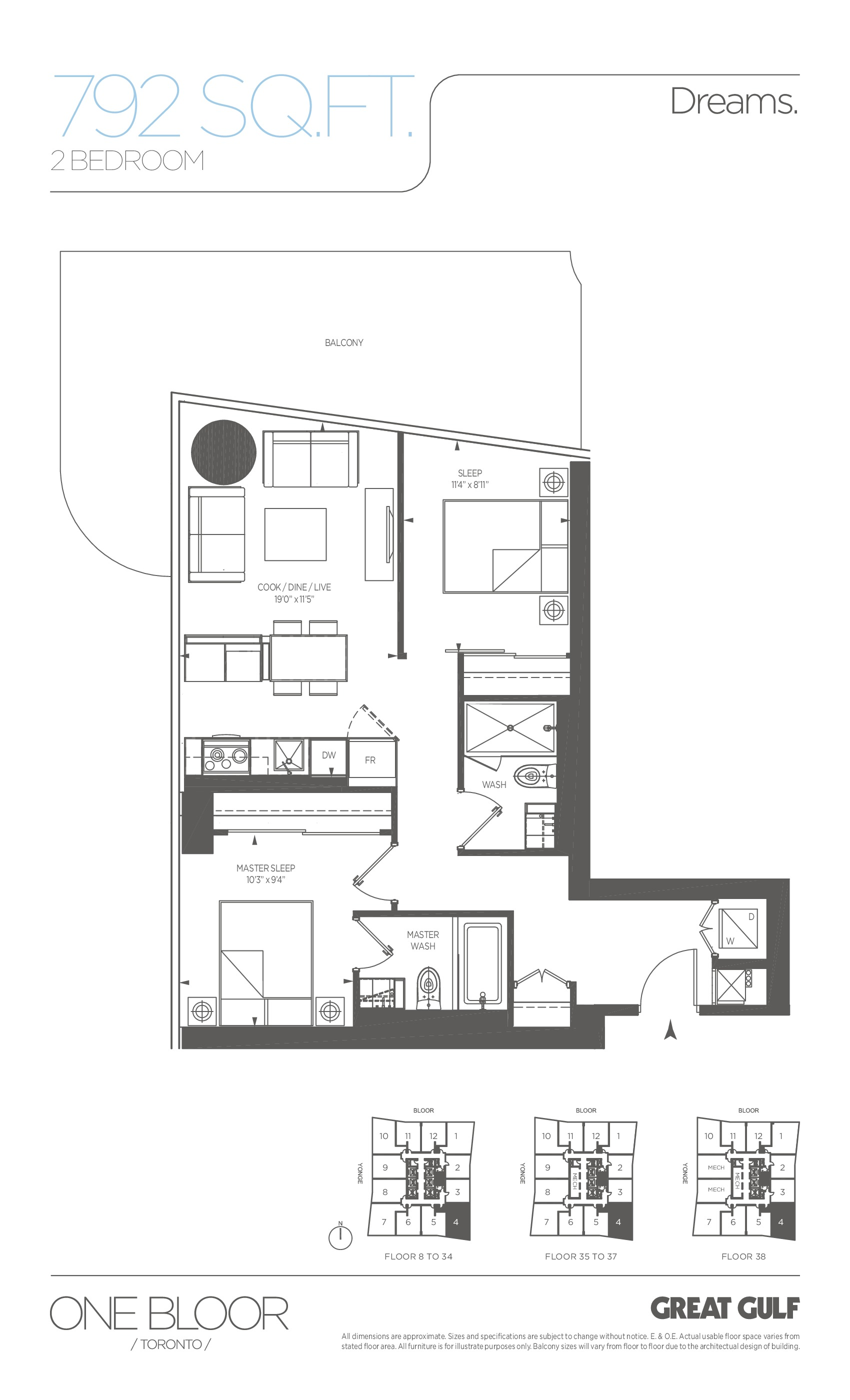 Dreams Floor Plan at One Bloor Condos - 792 sq.ft