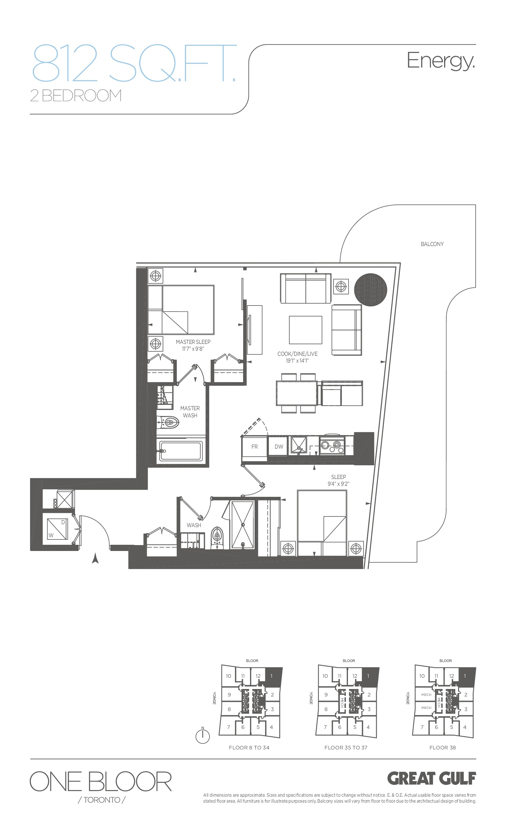 Energy Floor Plan at One Bloor Condos - 812 sq.ft