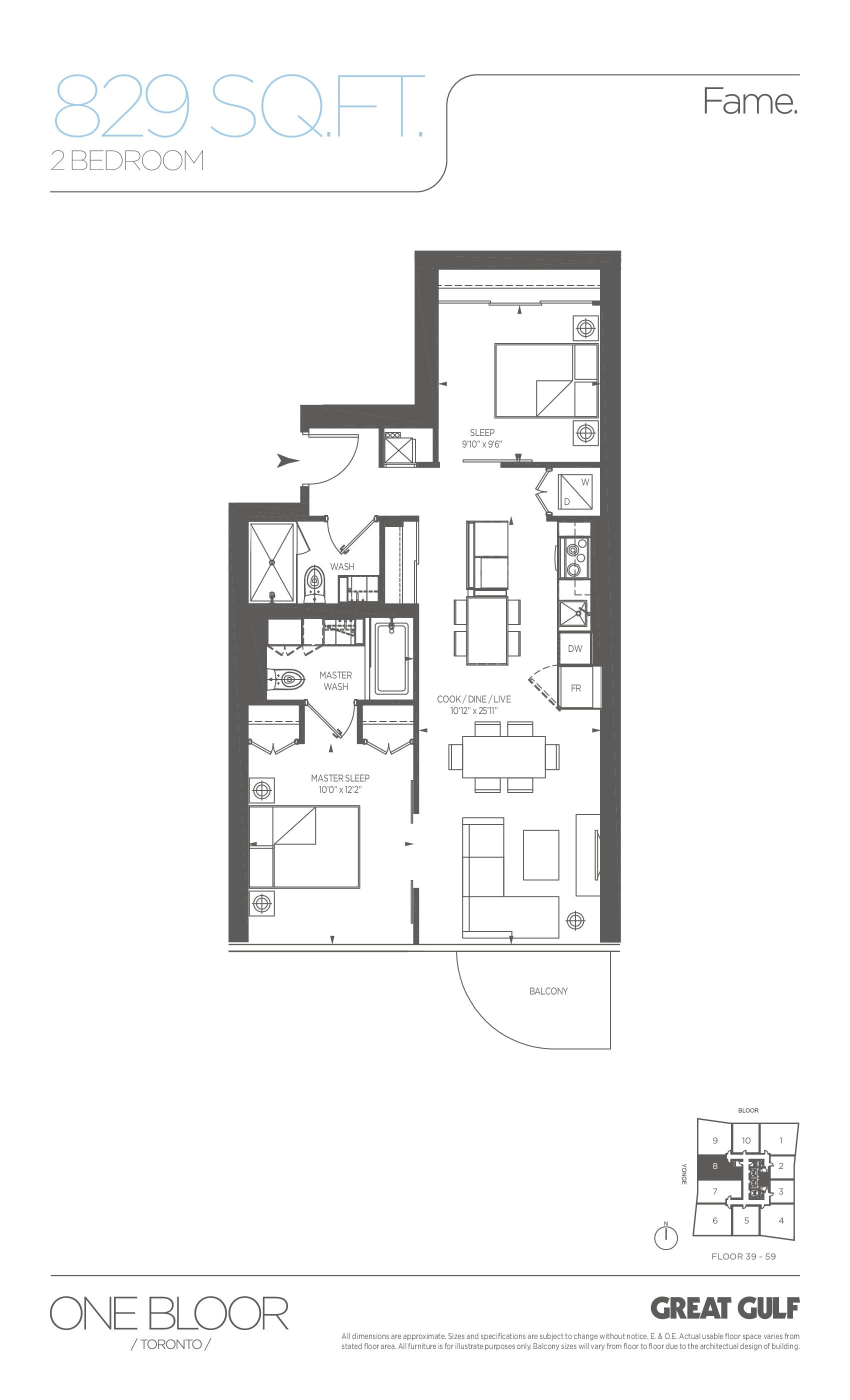 Fame Floor Plan at One Bloor Condos - 829 sq.ft