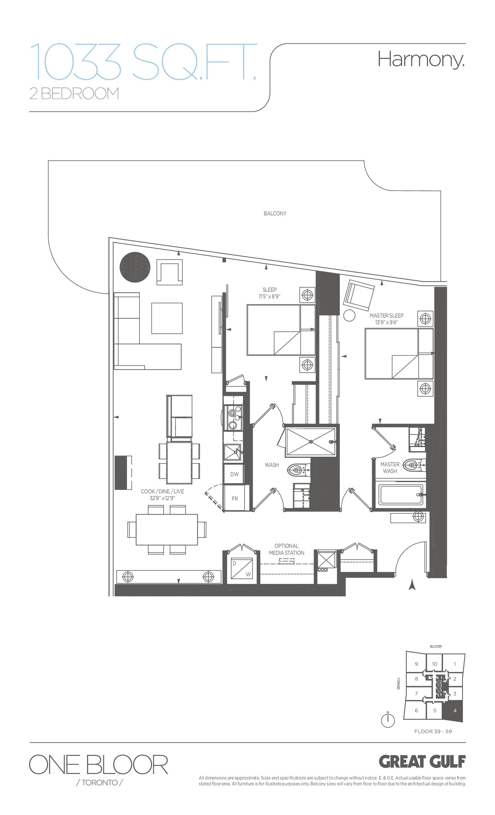 Harmony Floor Plan at One Bloor Condos - 1033 sq.ft