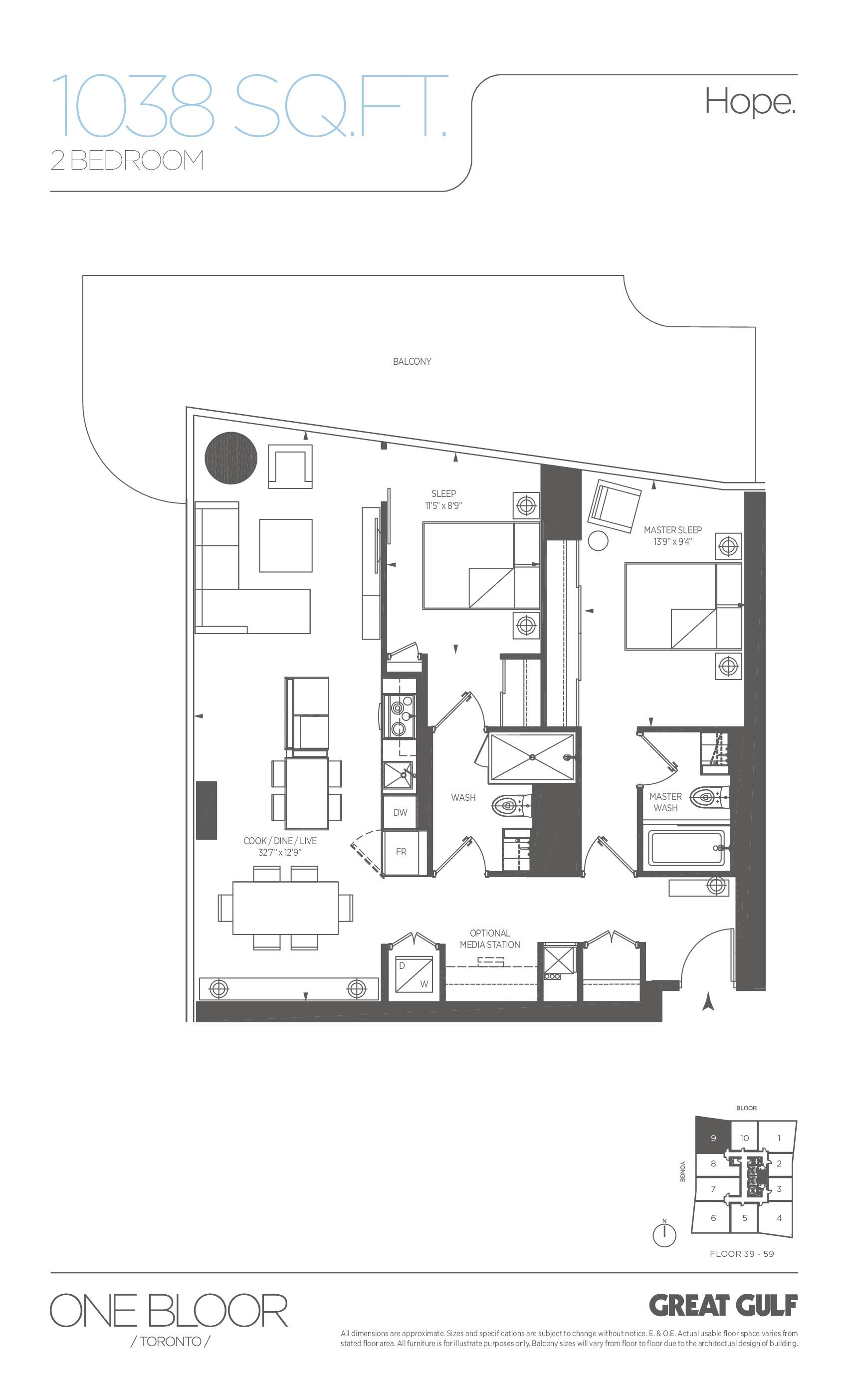 Hope Floor Plan at One Bloor Condos - 1038 sq.ft