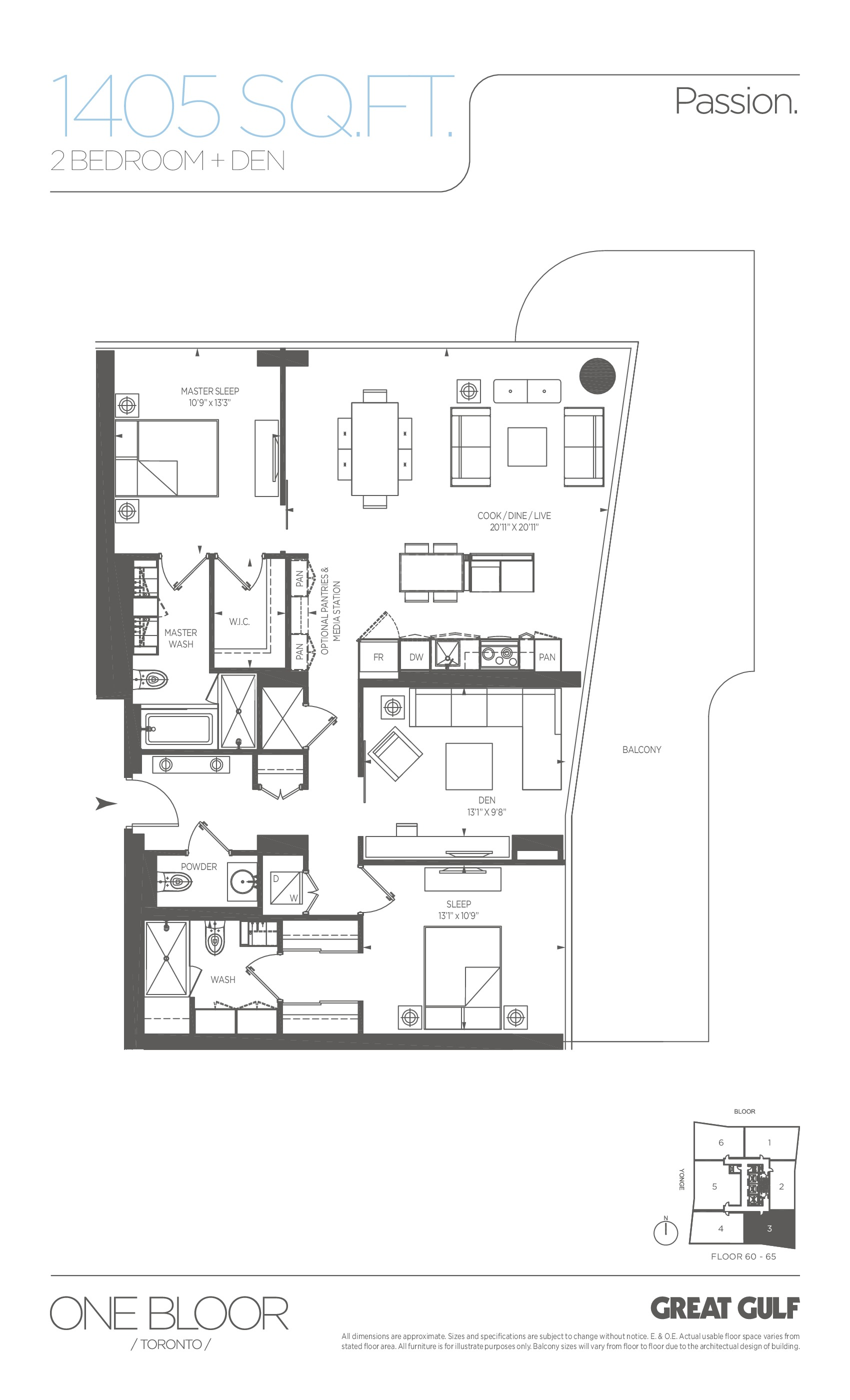 Passion Floor Plan at One Bloor Condos - 1405 sq.ft
