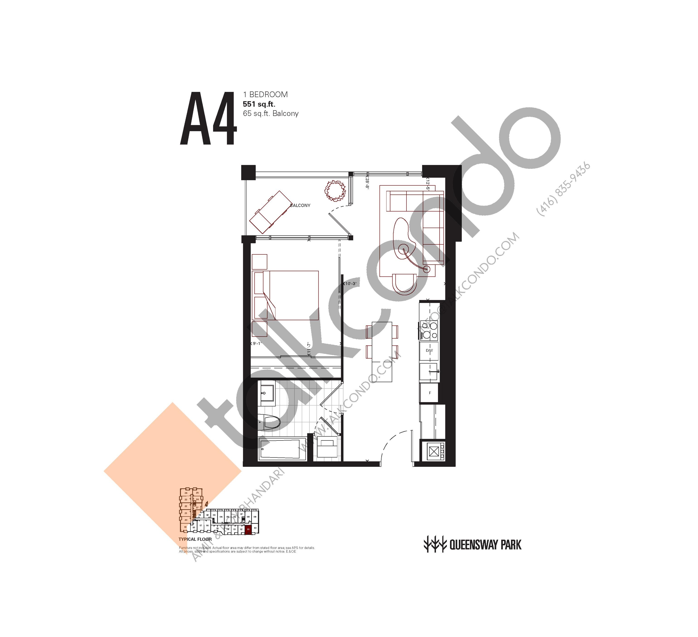 A4 Floor Plan at Queensway Park Condos - 551 sq.ft