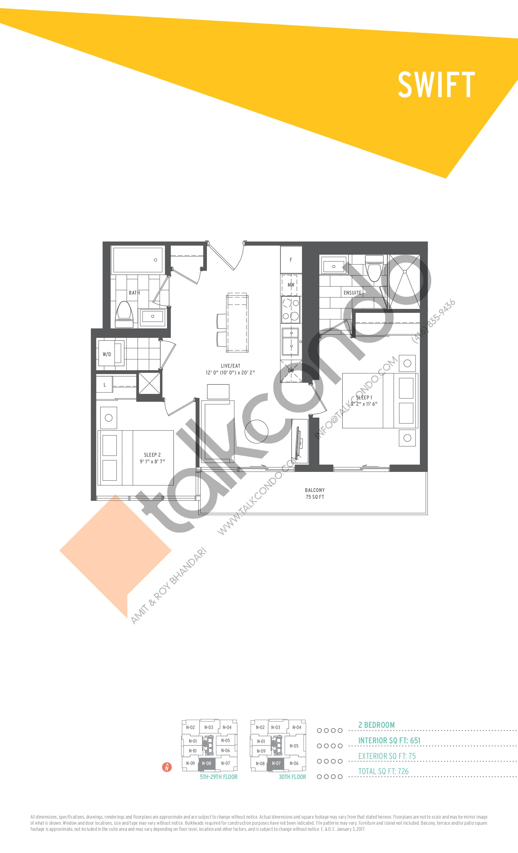 Swift Floor Plan at SuperSonic Condos - 651 sq.ft