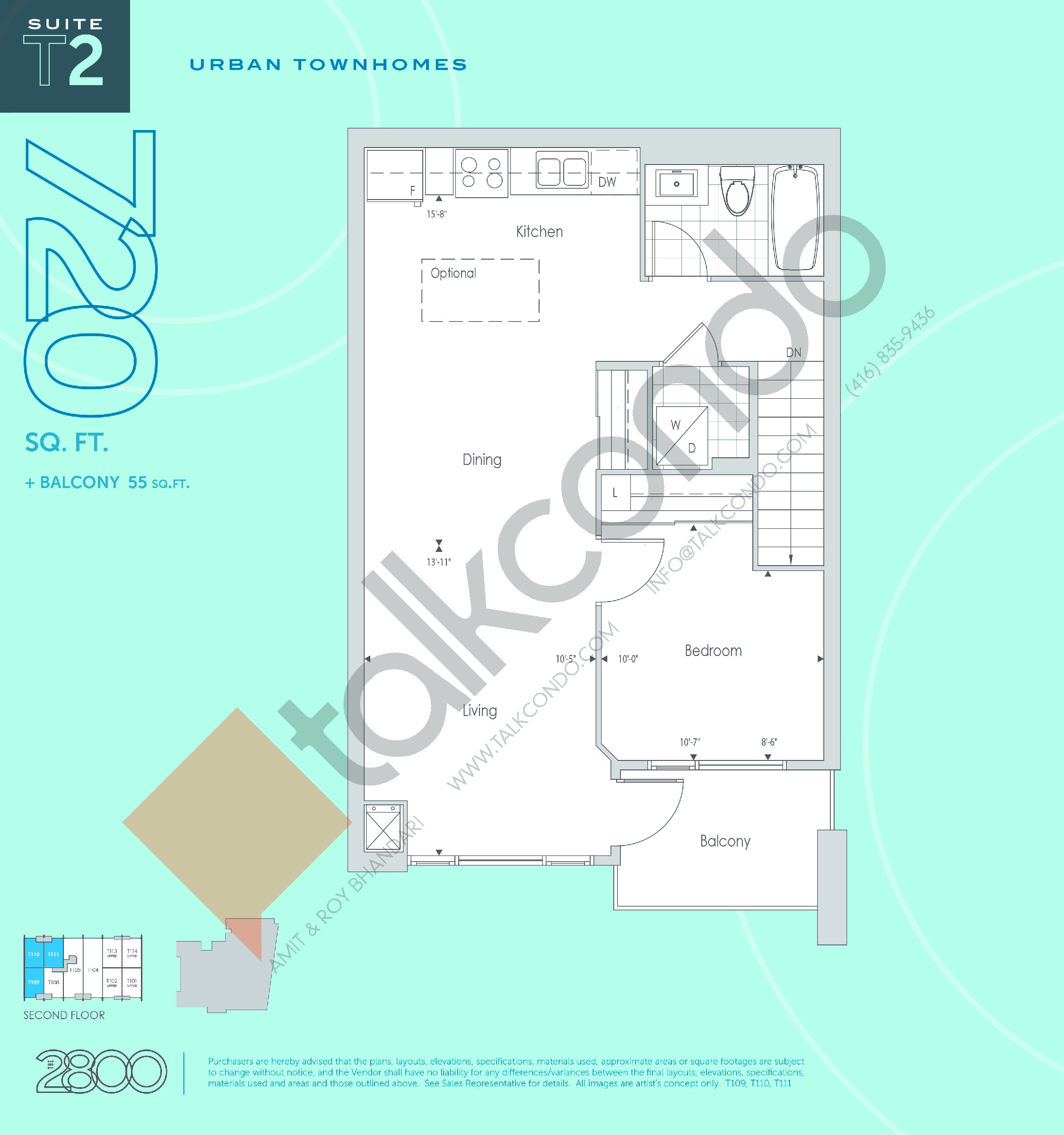 T2 Floor Plan at The 2800 Condos - 720 sq.ft