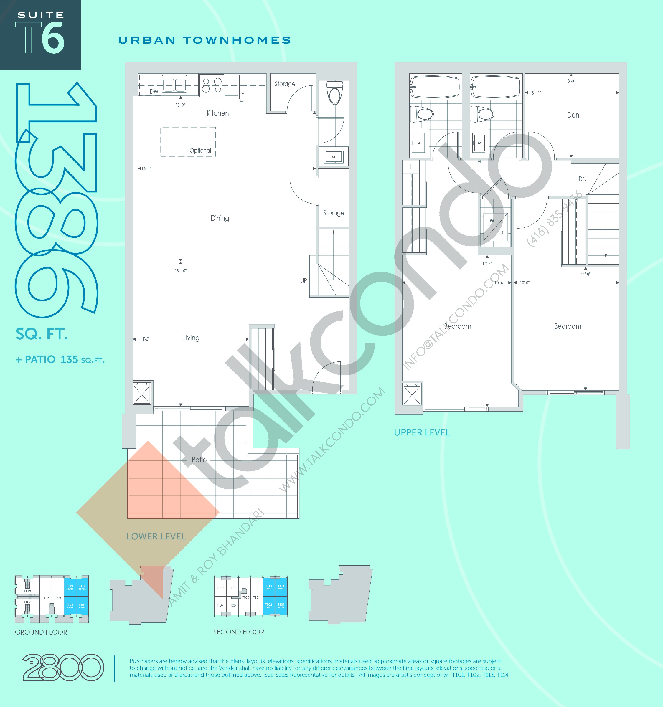 T6 Floor Plan at The 2800 Condos - 1386 sq.ft