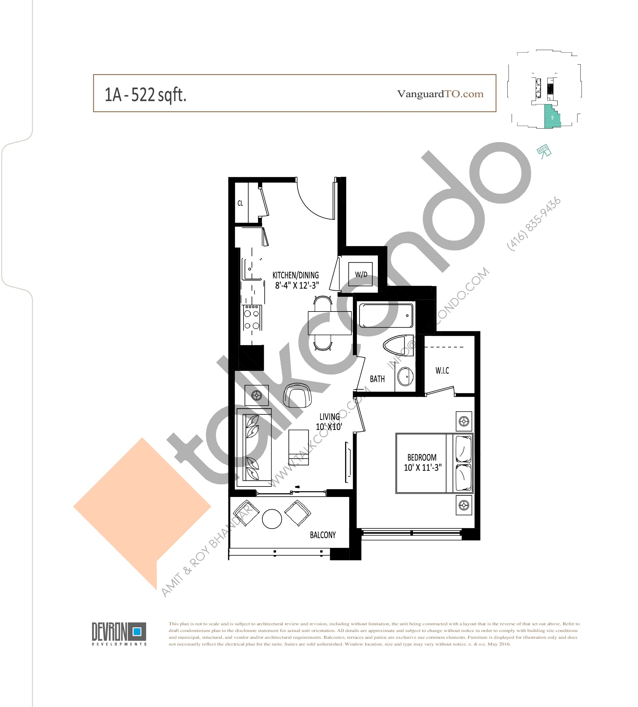 1A Floor Plan at The Vanguard - 522 sq.ft
