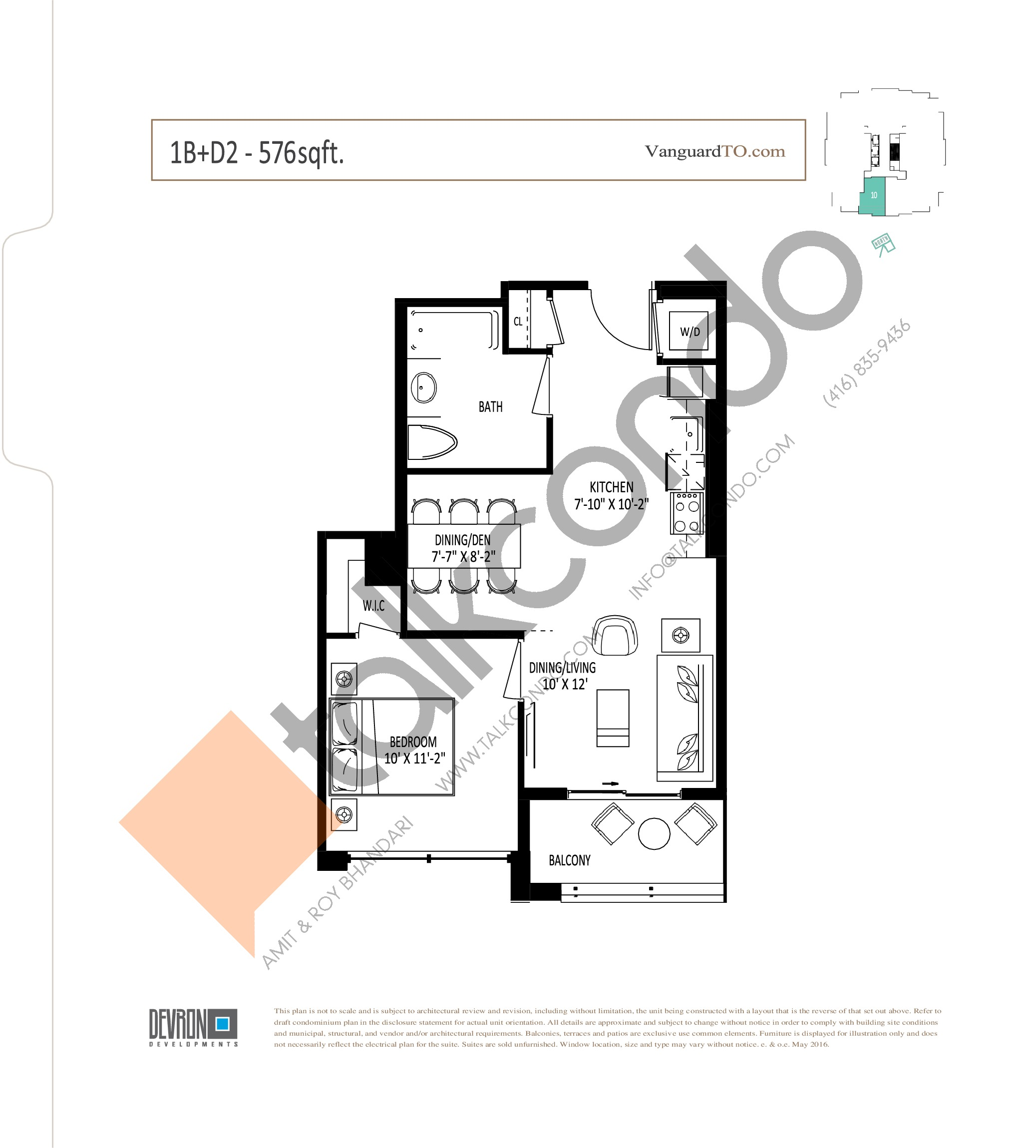 1B+D2 Floor Plan at The Vanguard - 576 sq.ft