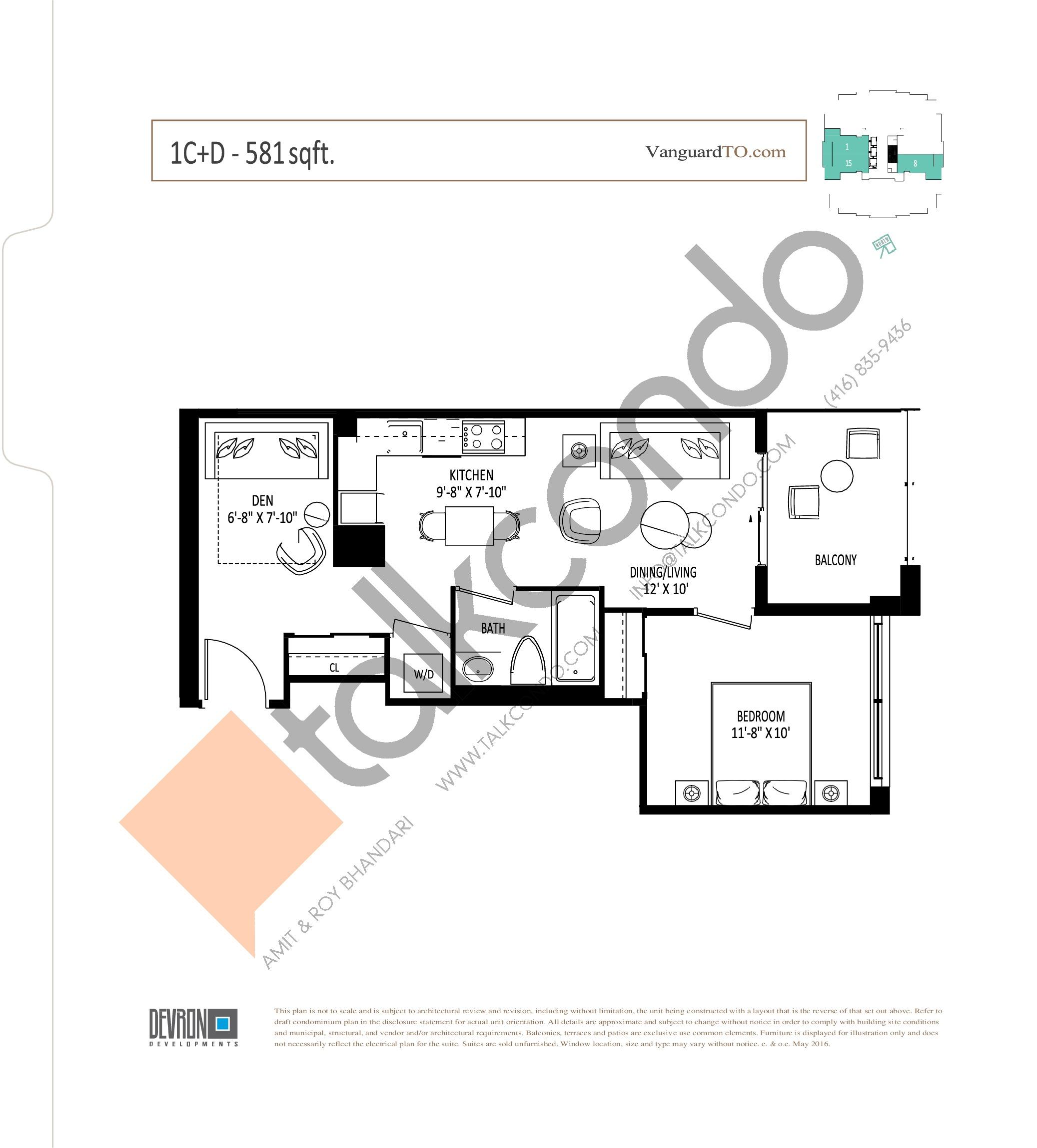 1C+D Floor Plan at The Vanguard - 581 sq.ft