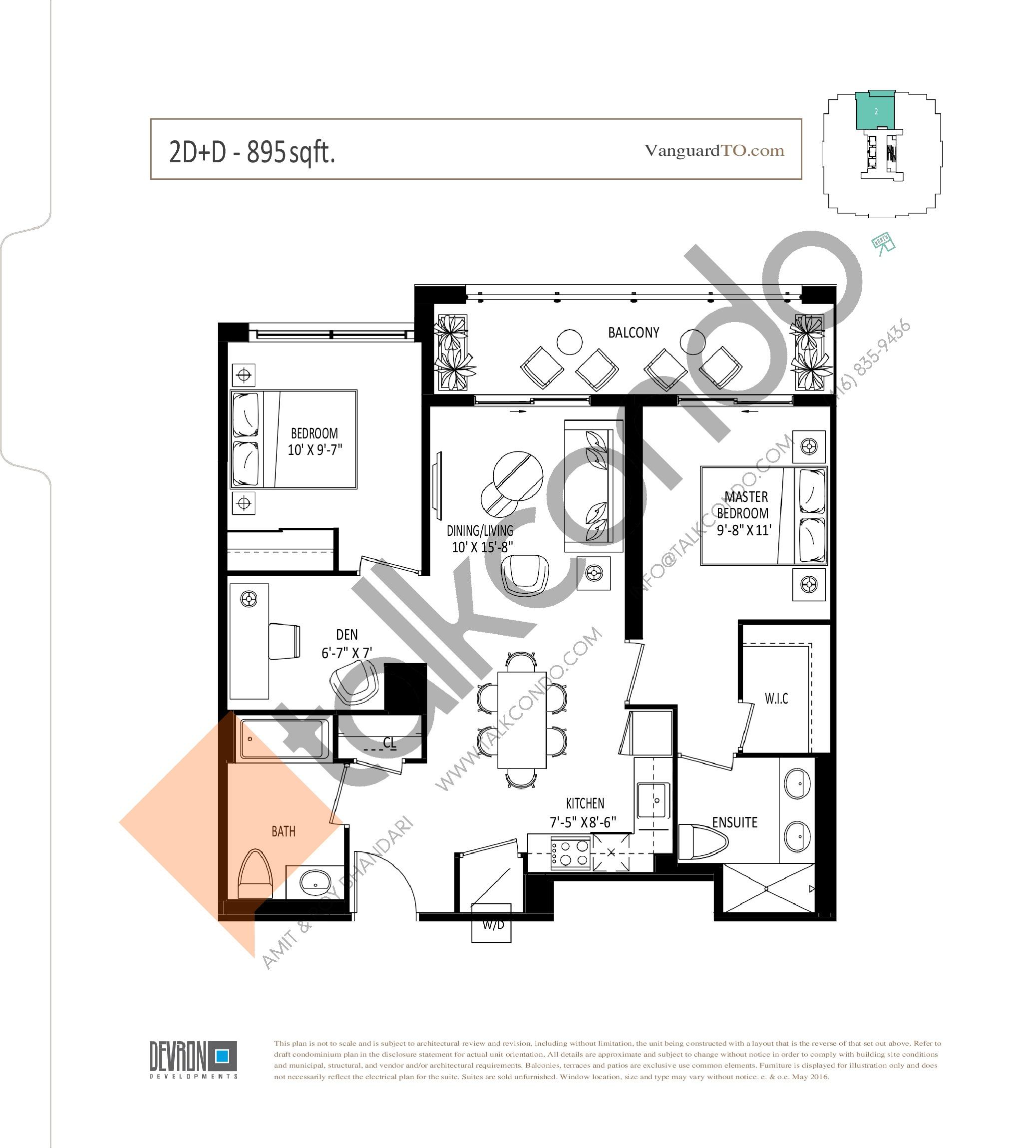 2D+D Floor Plan at The Vanguard - 895 sq.ft
