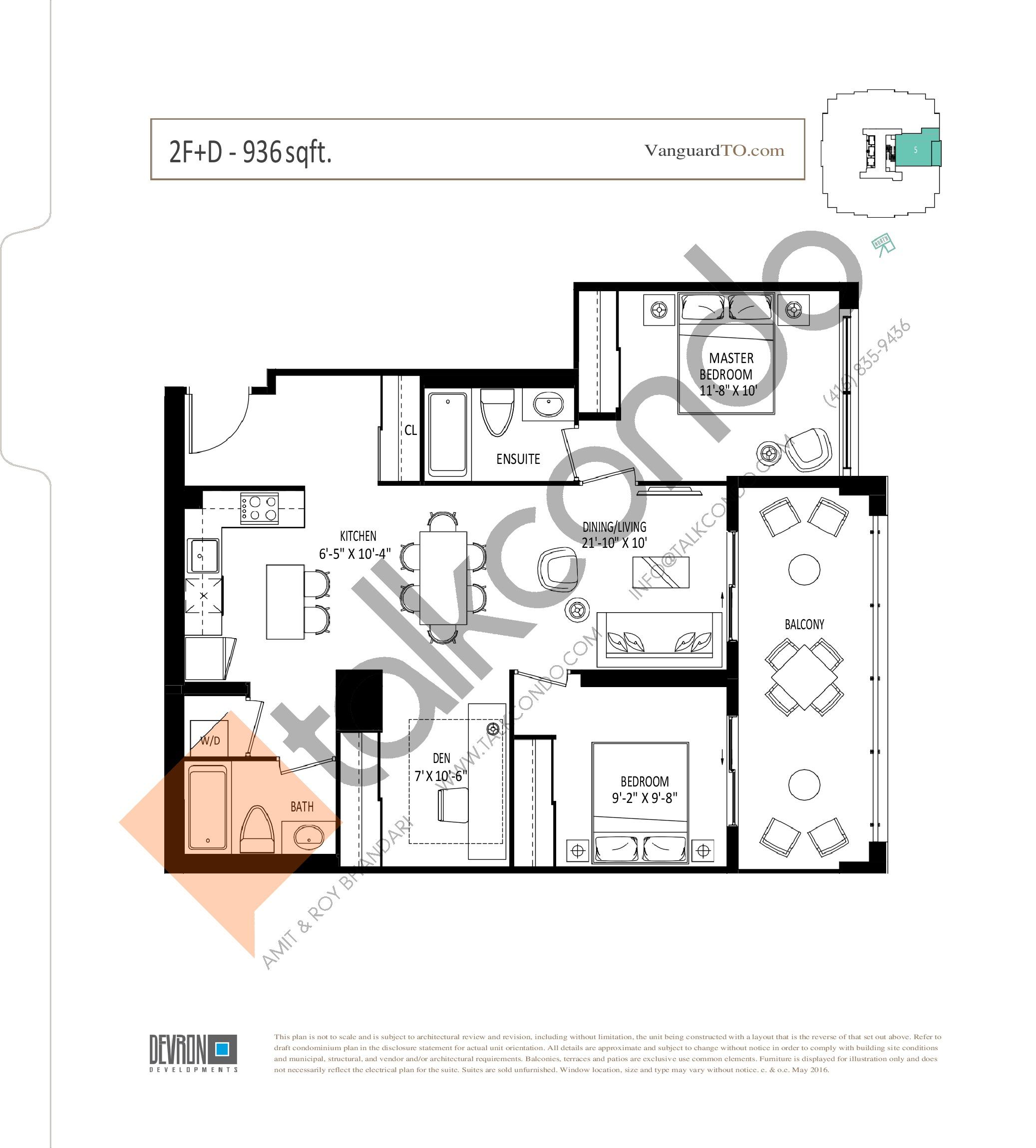 2F+D Floor Plan at The Vanguard - 936 sq.ft