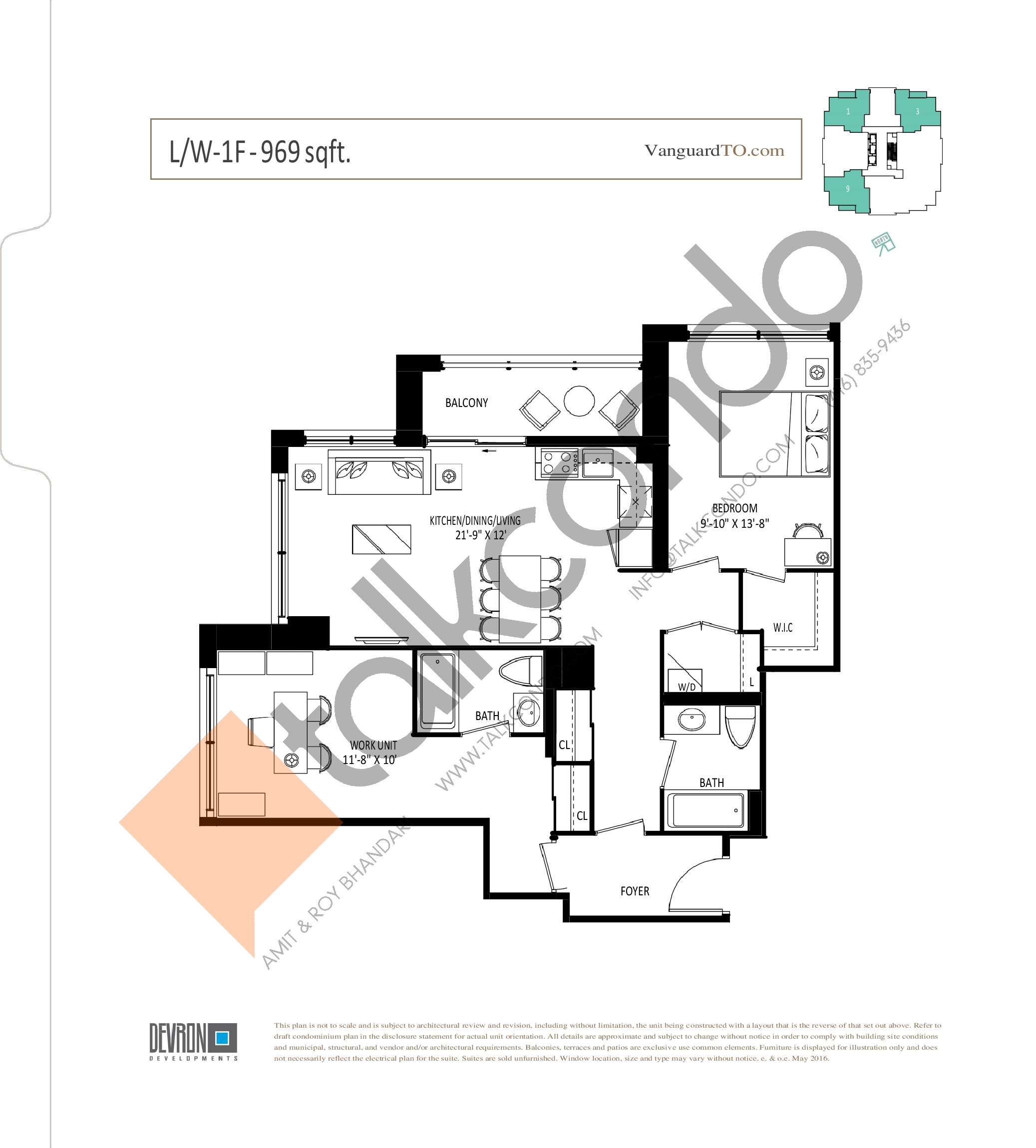 L/W-1F Floor Plan at The Vanguard - 969 sq.ft